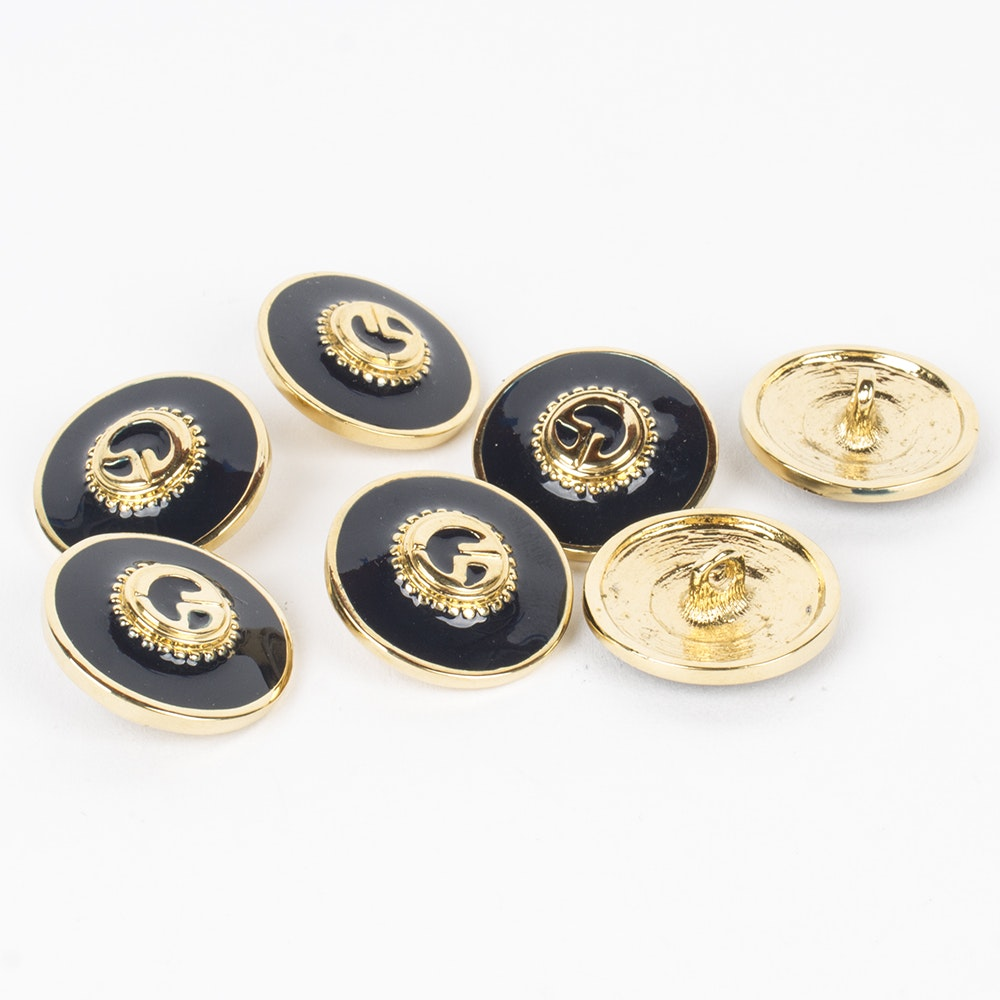 St. John Black Enamel and Gold Toned Metal Replacement Logo Buttons