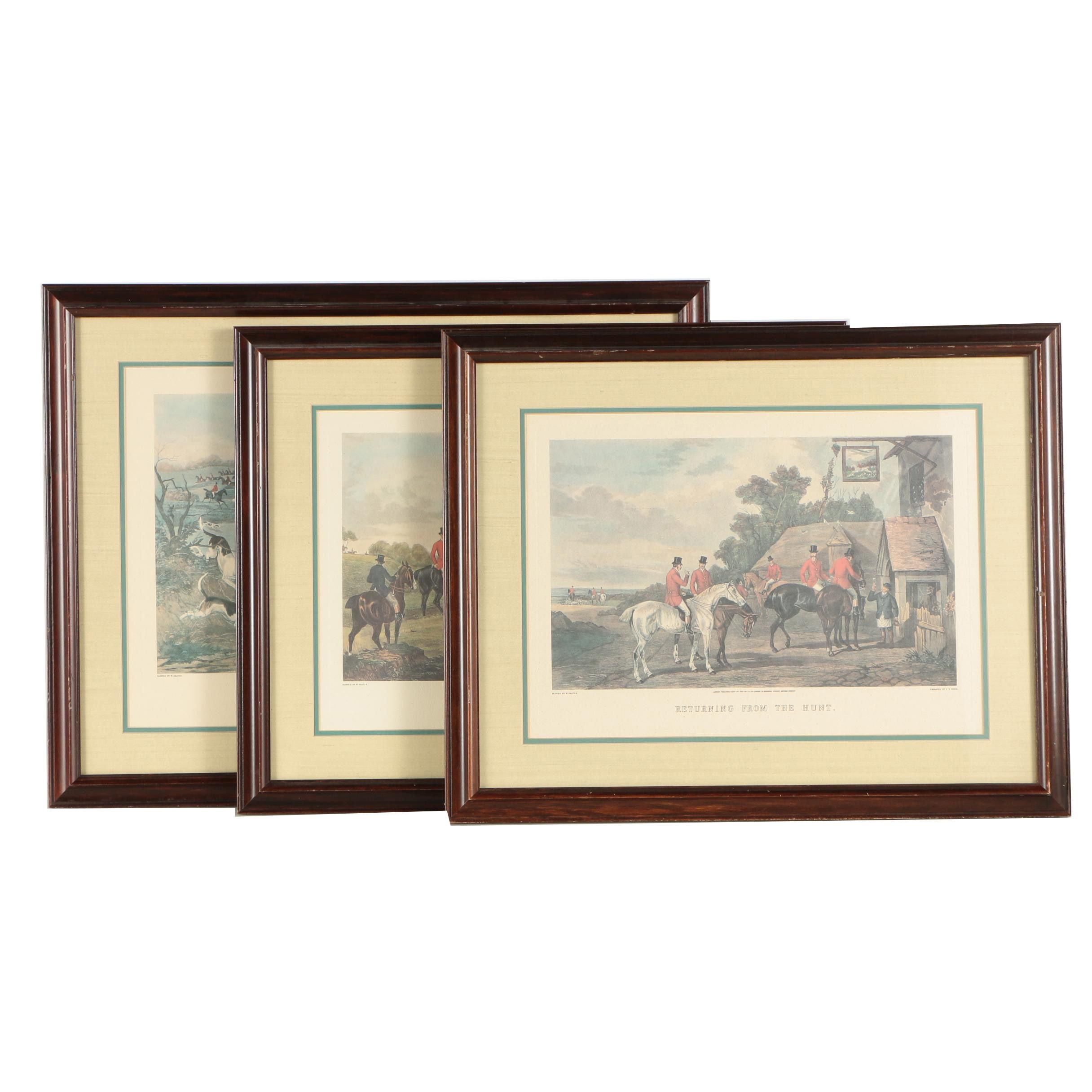 Assortment of Offset Lithographs Of Fox Hunting
