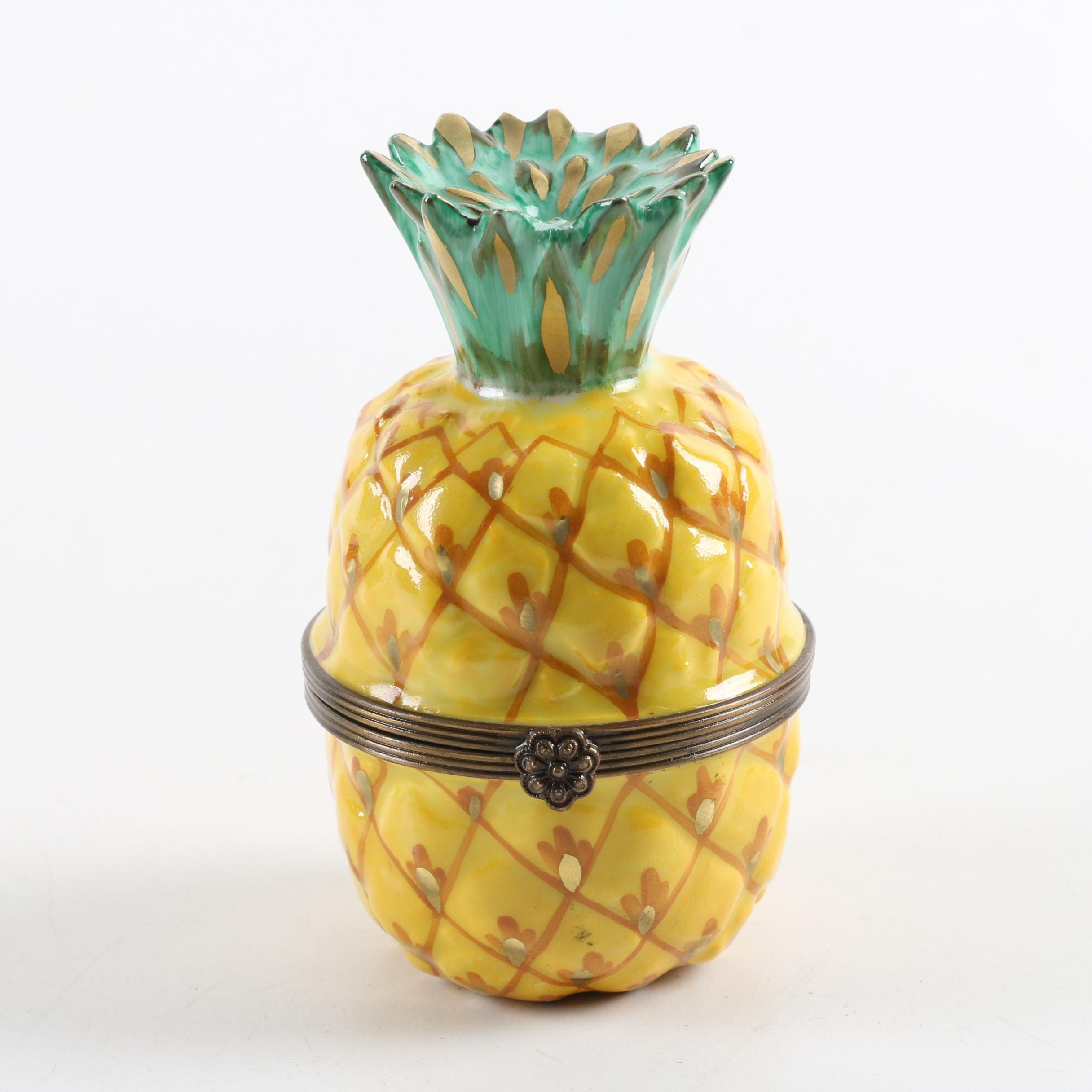 Tiffany & Co. Limoges Hand Painted Pineapple Trinket Box