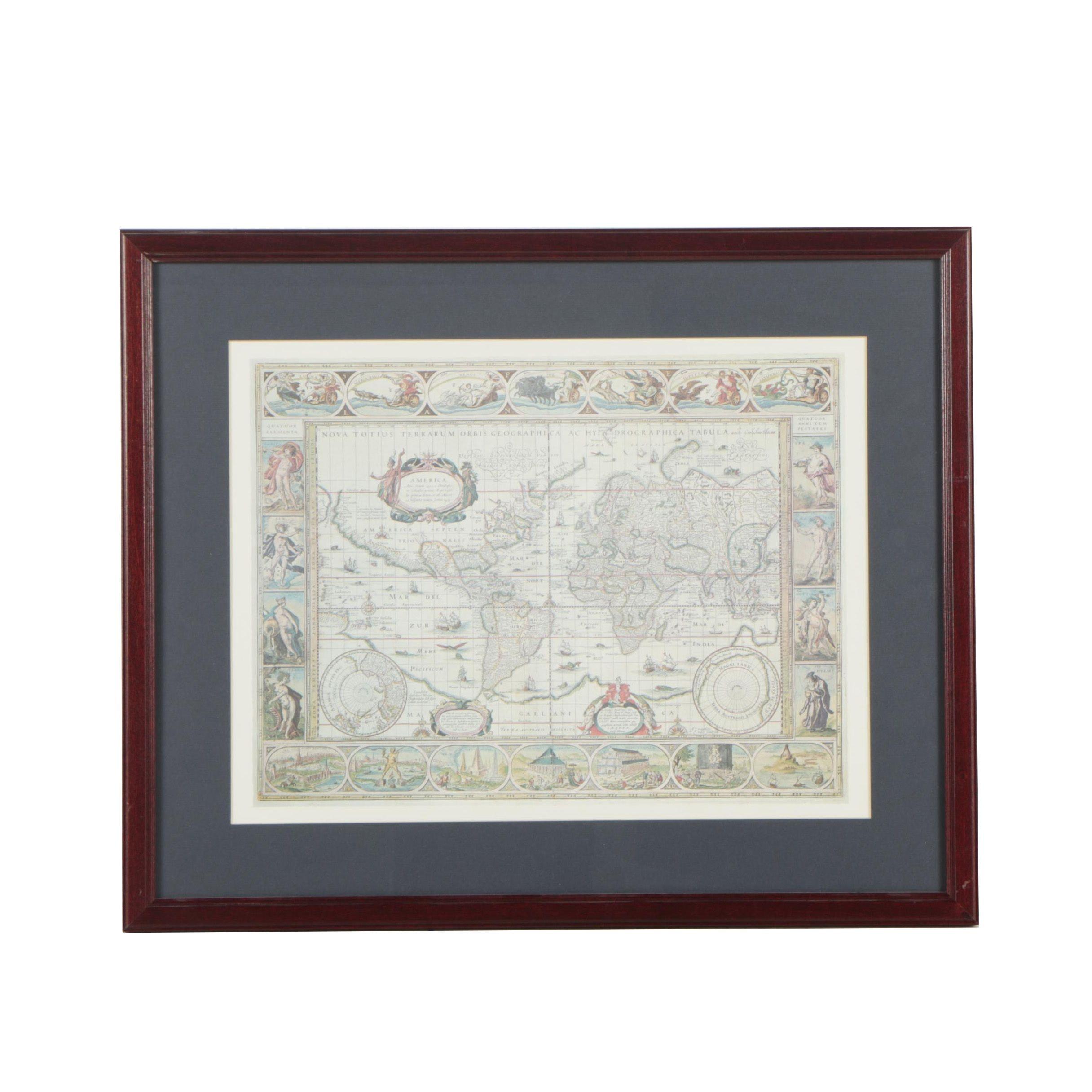 Offset Lithograph Reproduction Print After Willem Blaeu 1635 World Map