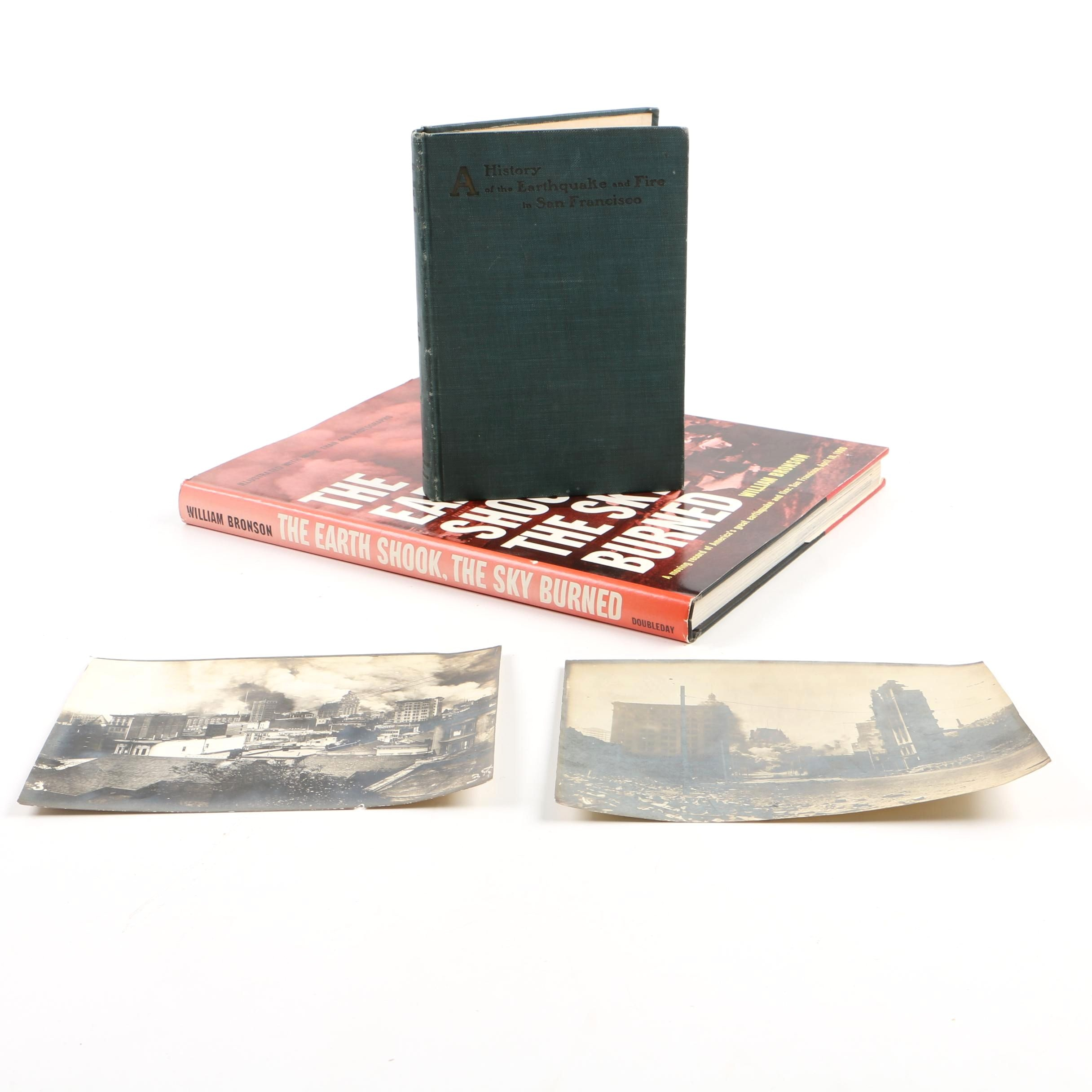 Grouping of San Francisco Earthquake Topic Books Including Printed Images