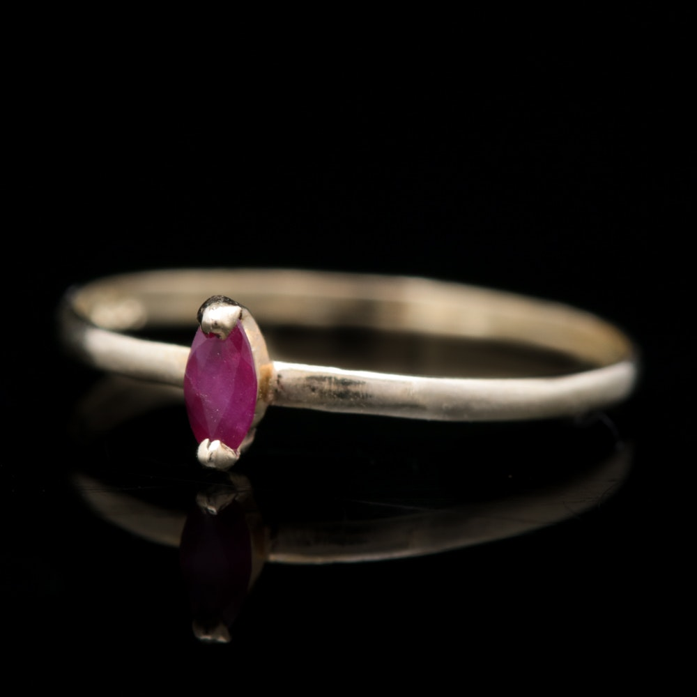 14K Yellow Gold and Marquise Ruby Solitaire Ring