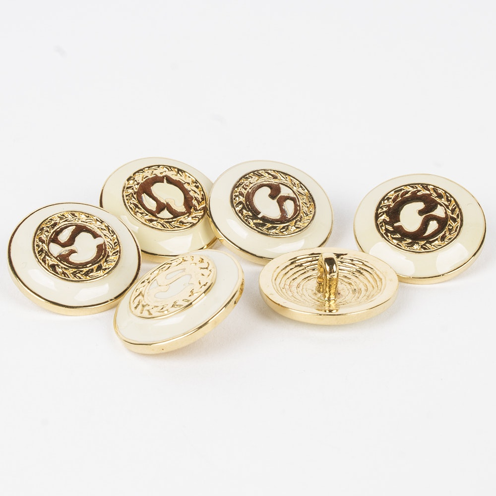 St. John White Enamel and Gold Tone Metal Replacement Logo Buttons