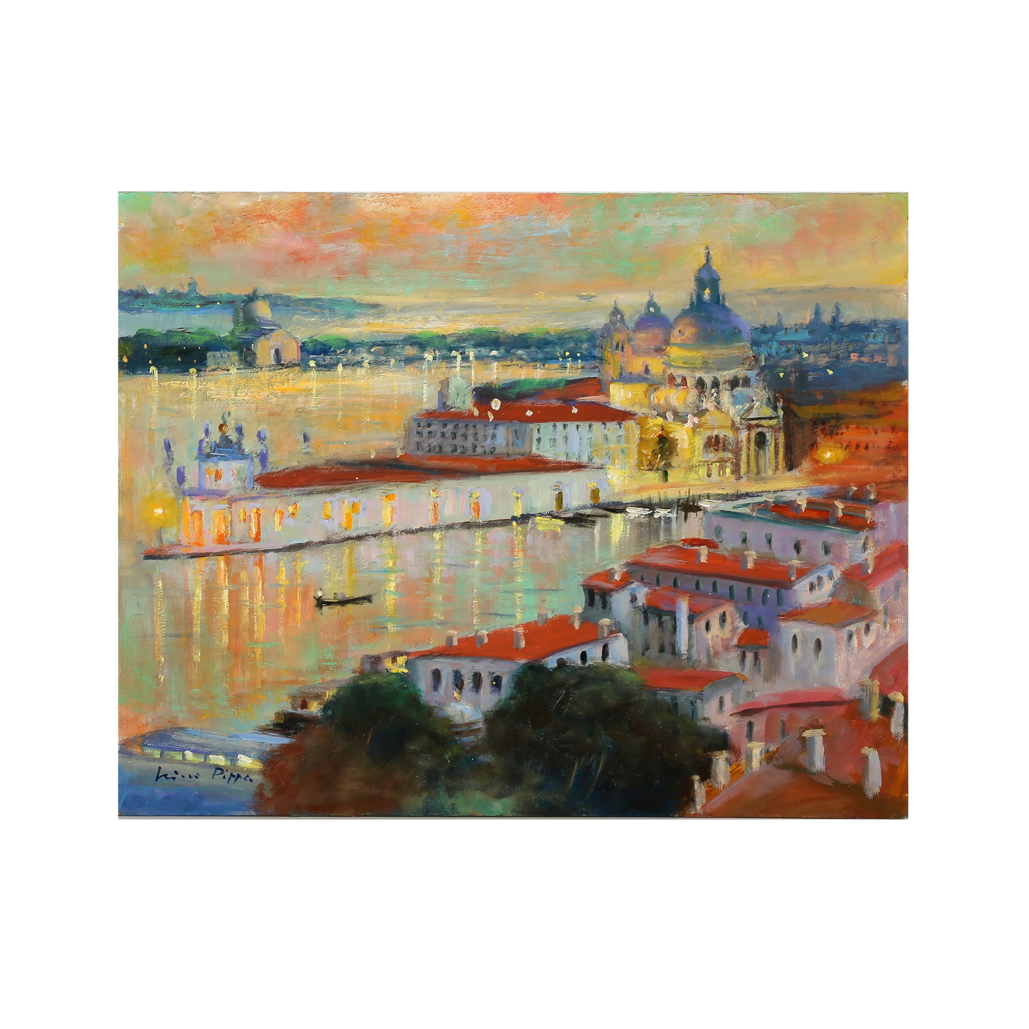 "Nino Pippa Oil Painting ""Venice - Entrance to the Grand Canal - Twilight"""