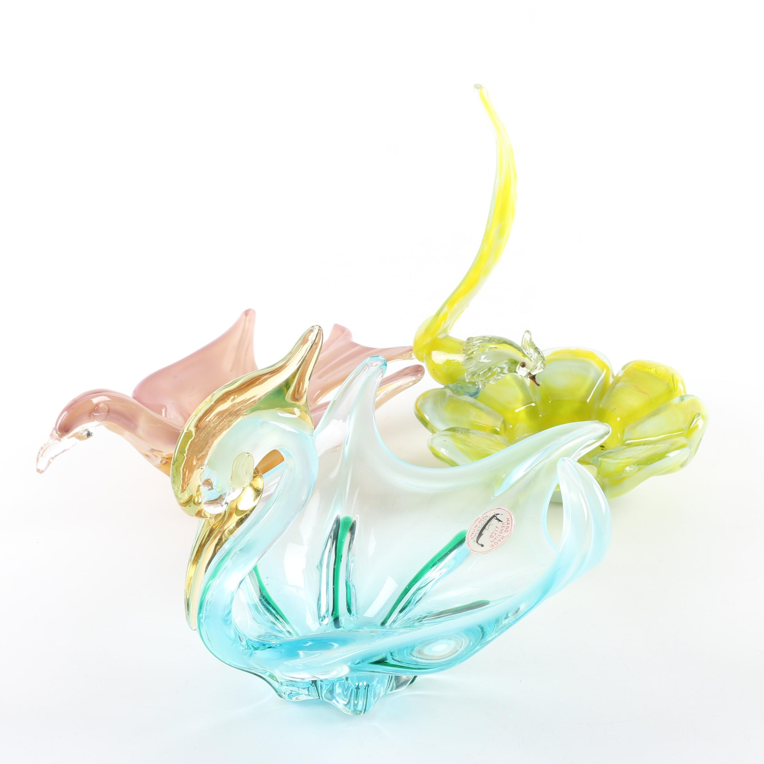 Blown Glass Bird Dishes Including Vintage Venetian J.I. Co.