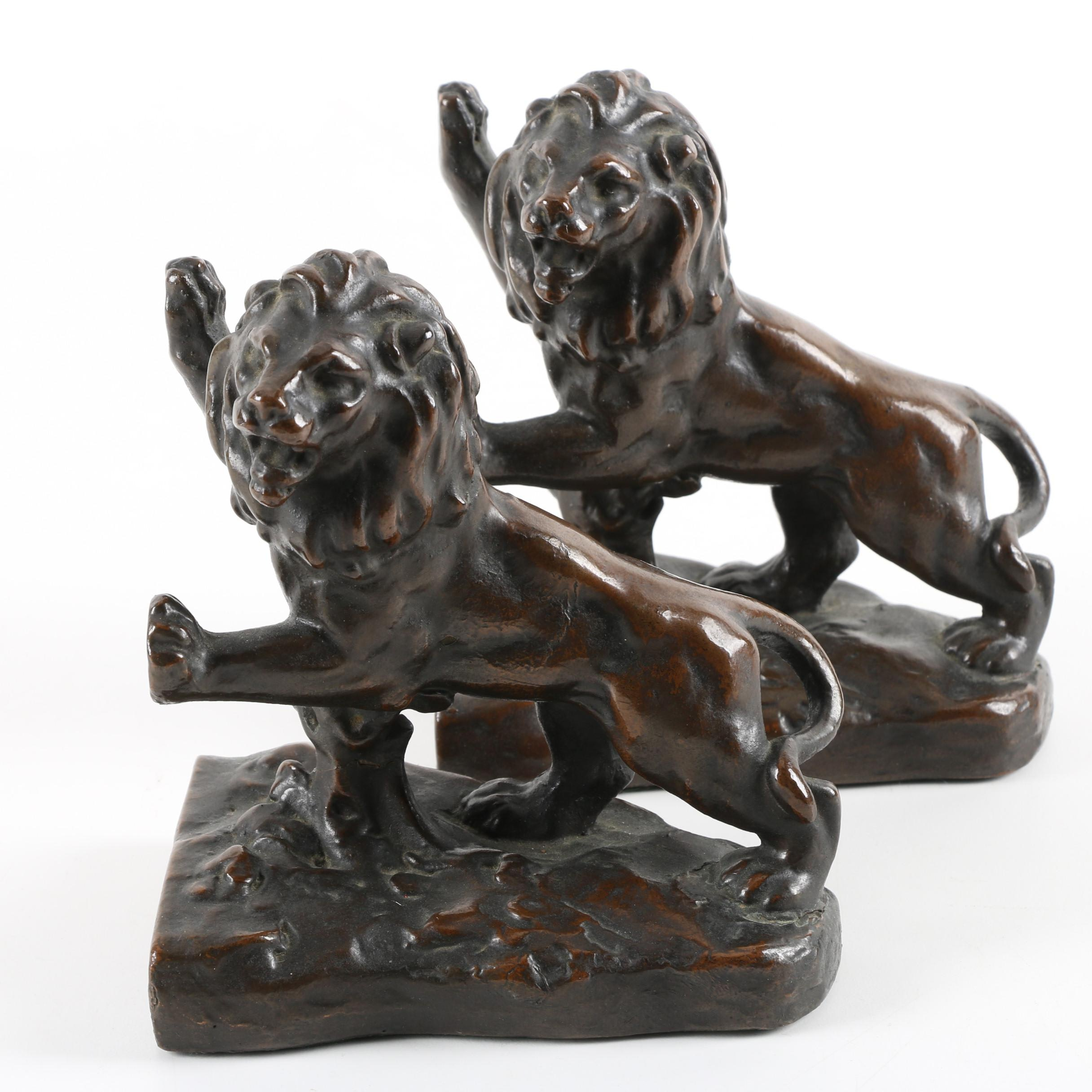 Early 20th Century Galvano Bronze P. Mori and Sons Lion Bookends