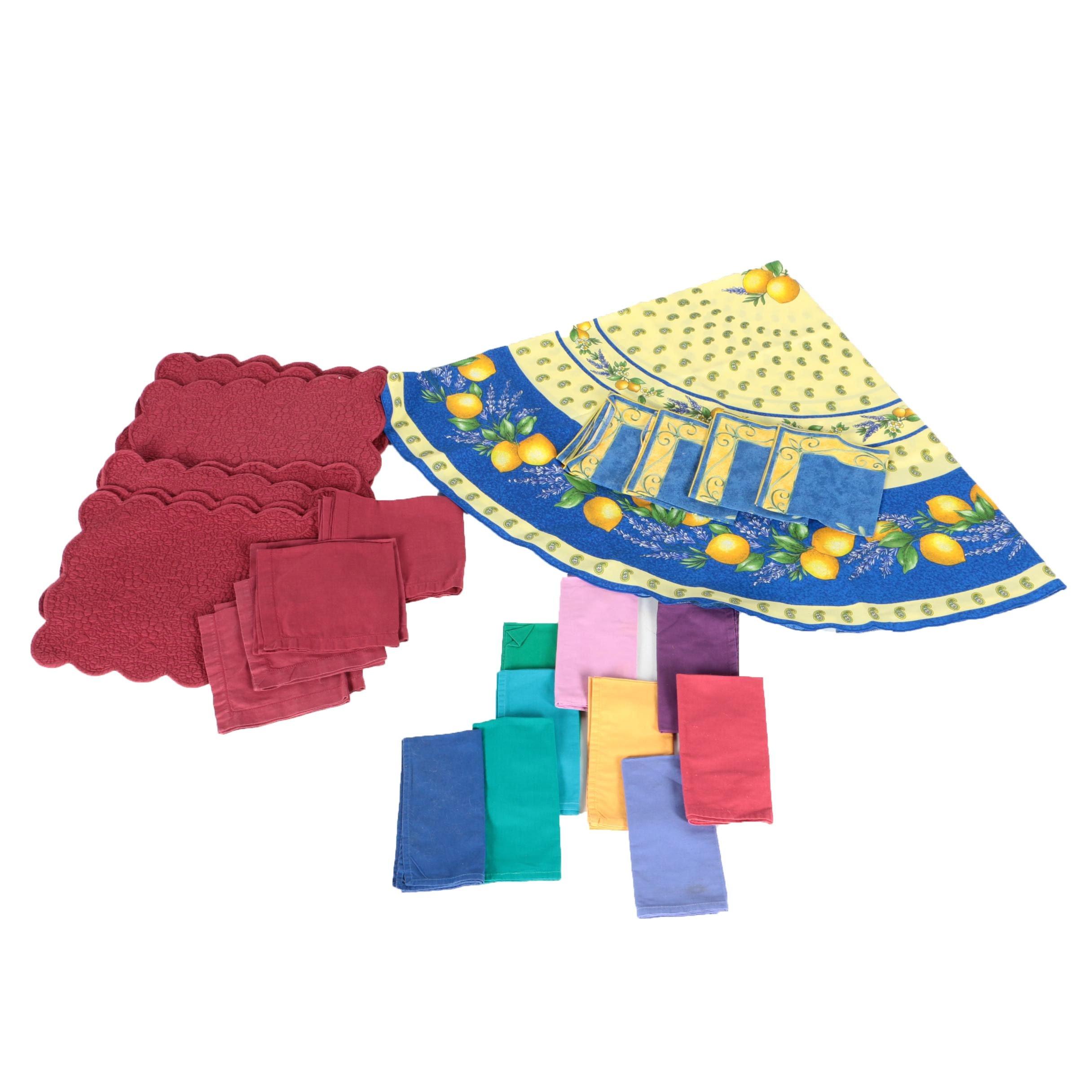 Colorful Cotton Napkins, Floral Placemats and Lemon Patterned Table Linens