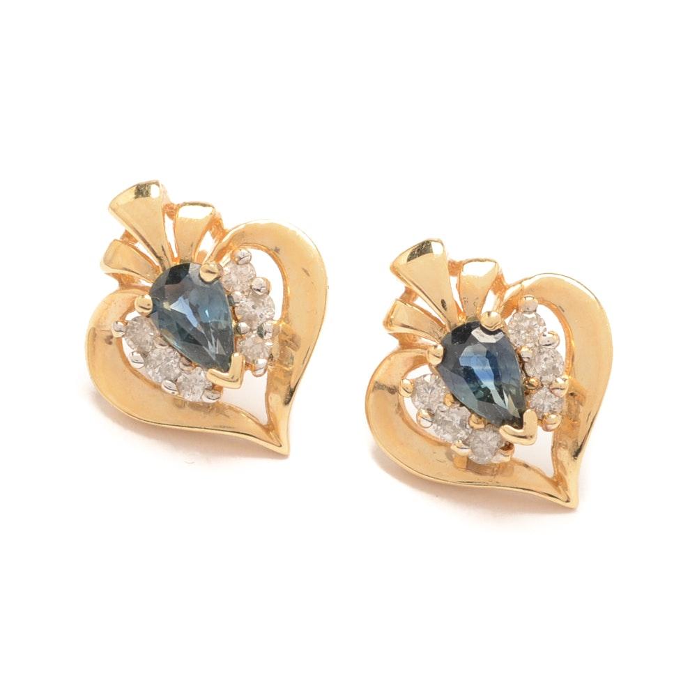 14K Yellow Gold Sapphire and Diamond Heart Shaped Earrings