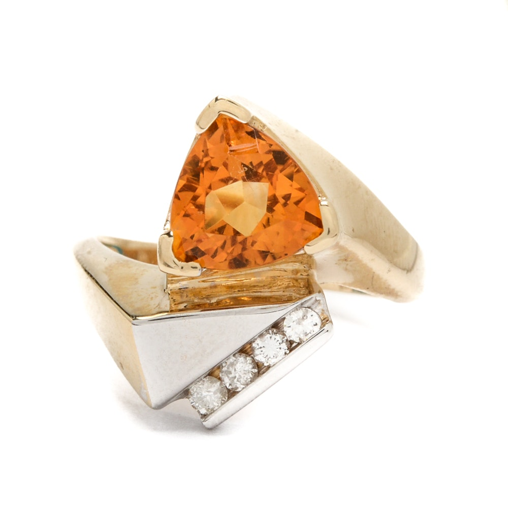 14K Yellow and White Gold Citrine and Diamond Ring