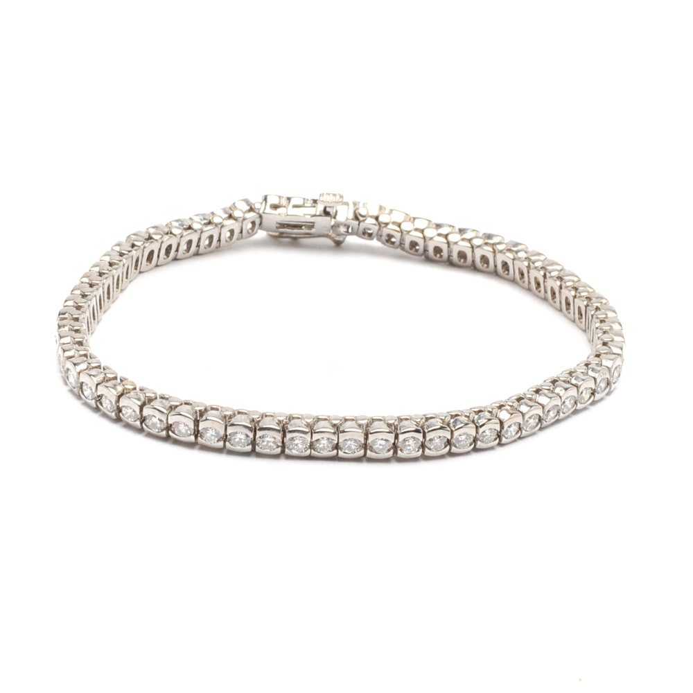 14K White Gold 3.98 CTW Diamond Bracelet