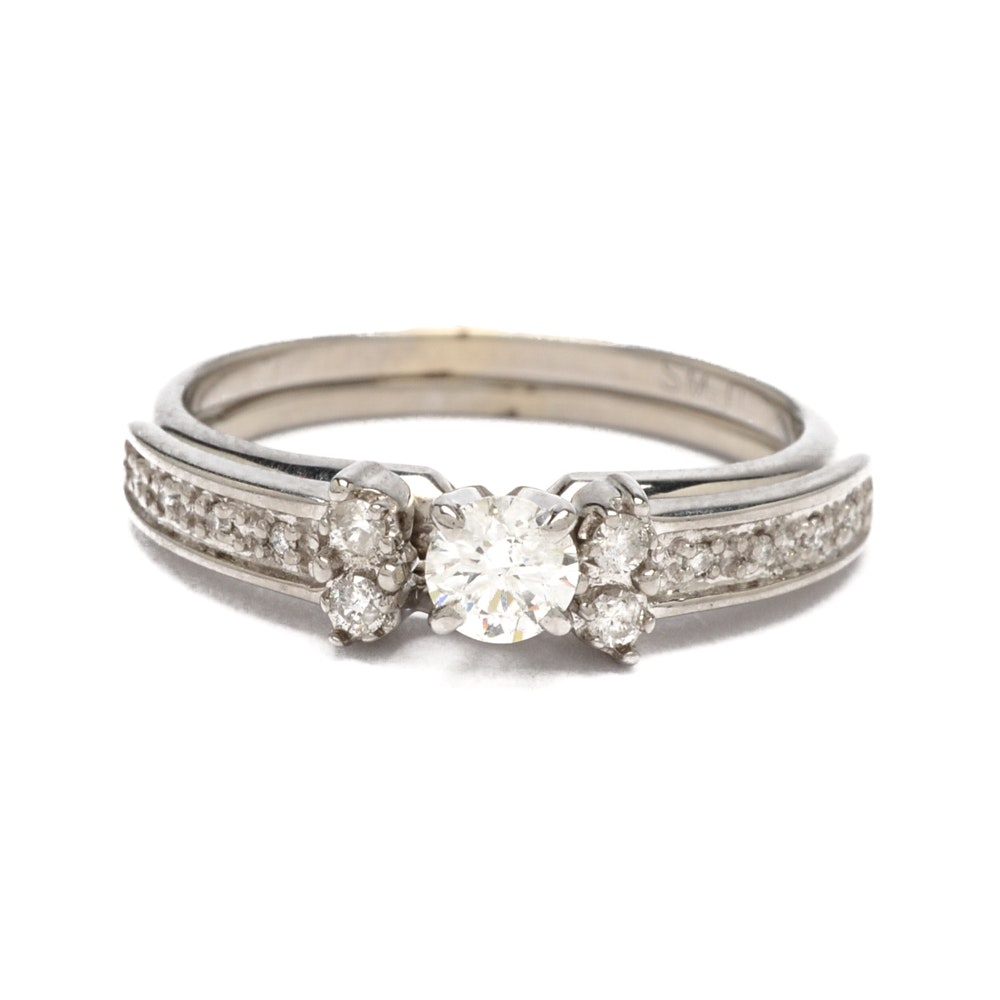14K White Gold Solitaire Diamond Ring with Ring Guard