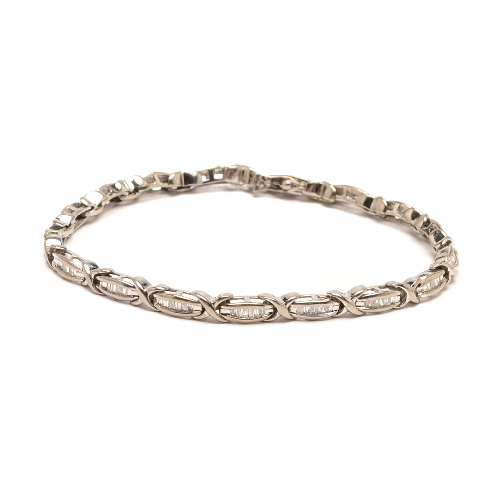 10K White Gold 1.00 CTW Diamond Bracelet