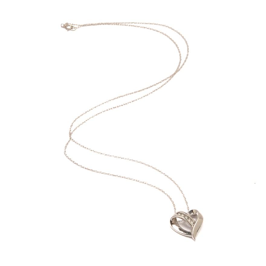 10k and 14k white gold diamond heart pendant necklace ebth 10k and 14k white gold diamond heart pendant necklace aloadofball Images