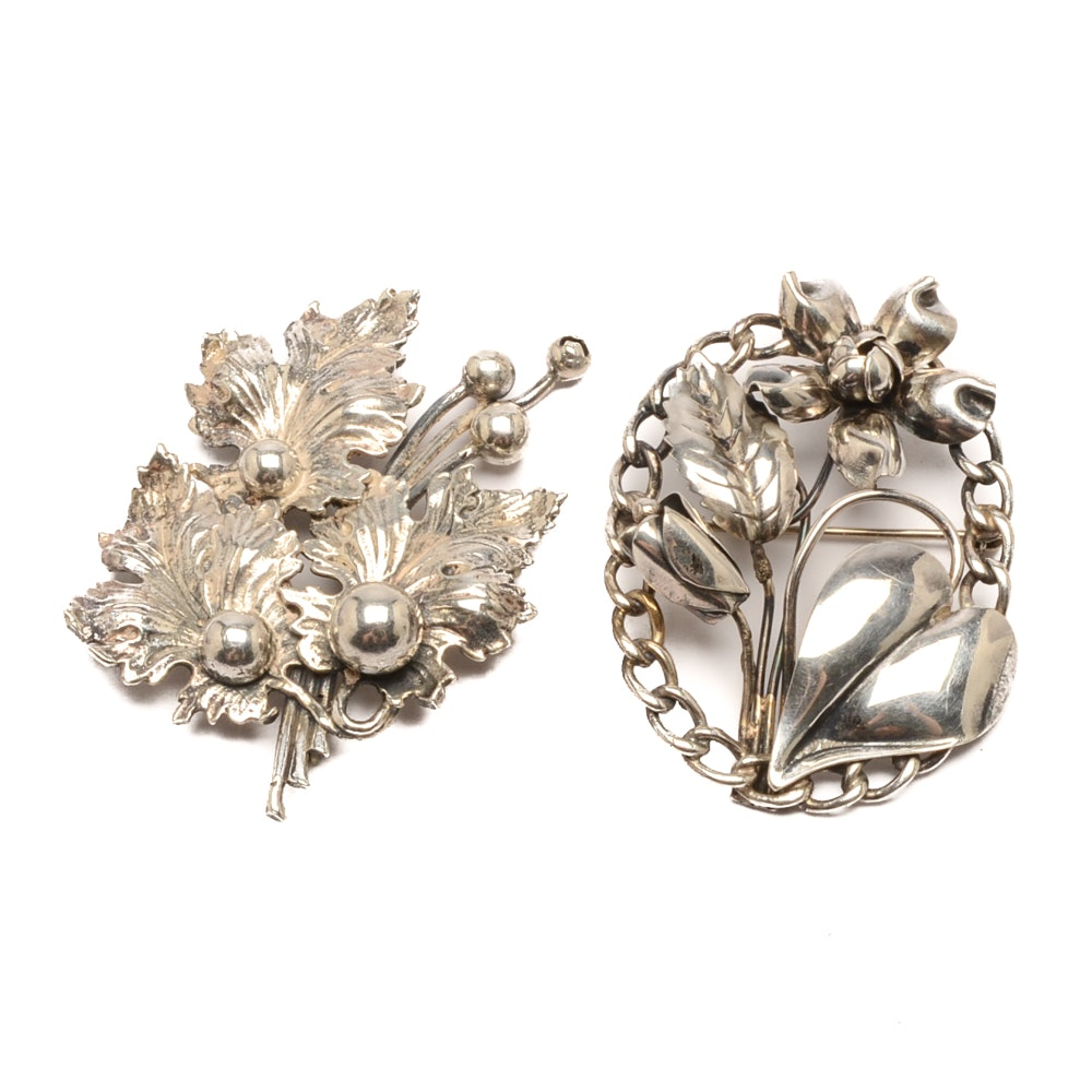 Sterling Silver Floral and Foliate Brooches, Including Guglielmo Cini