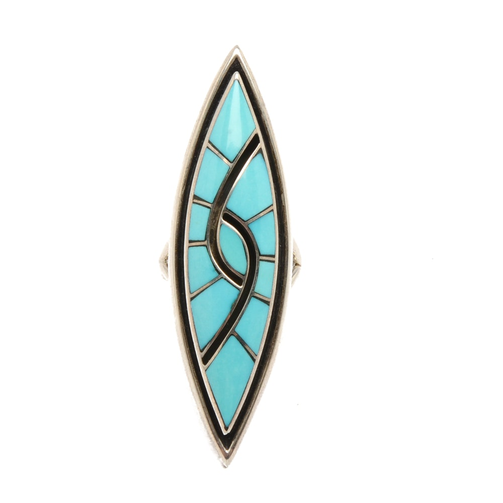 Dickie & Amy Quandelacy Zuni Sterling Silver Turquoise Ring