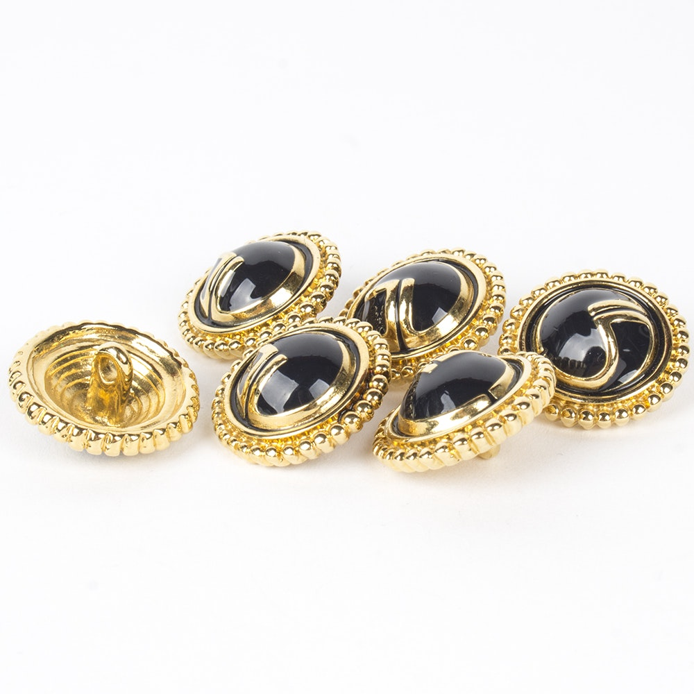 St. John Gold Tone and Black Enamel Signature Buttons