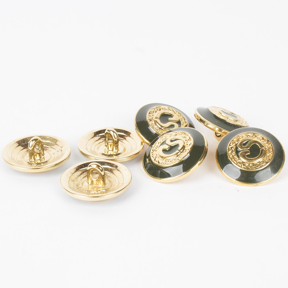 St. John Gold Tone and Enameled Logo Buttons