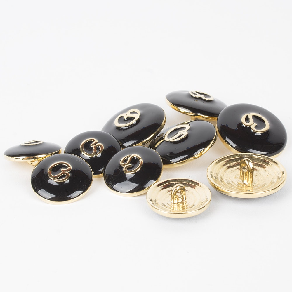 St. John Black Enamel and Gold Tone Metal Replacement Logo Buttons