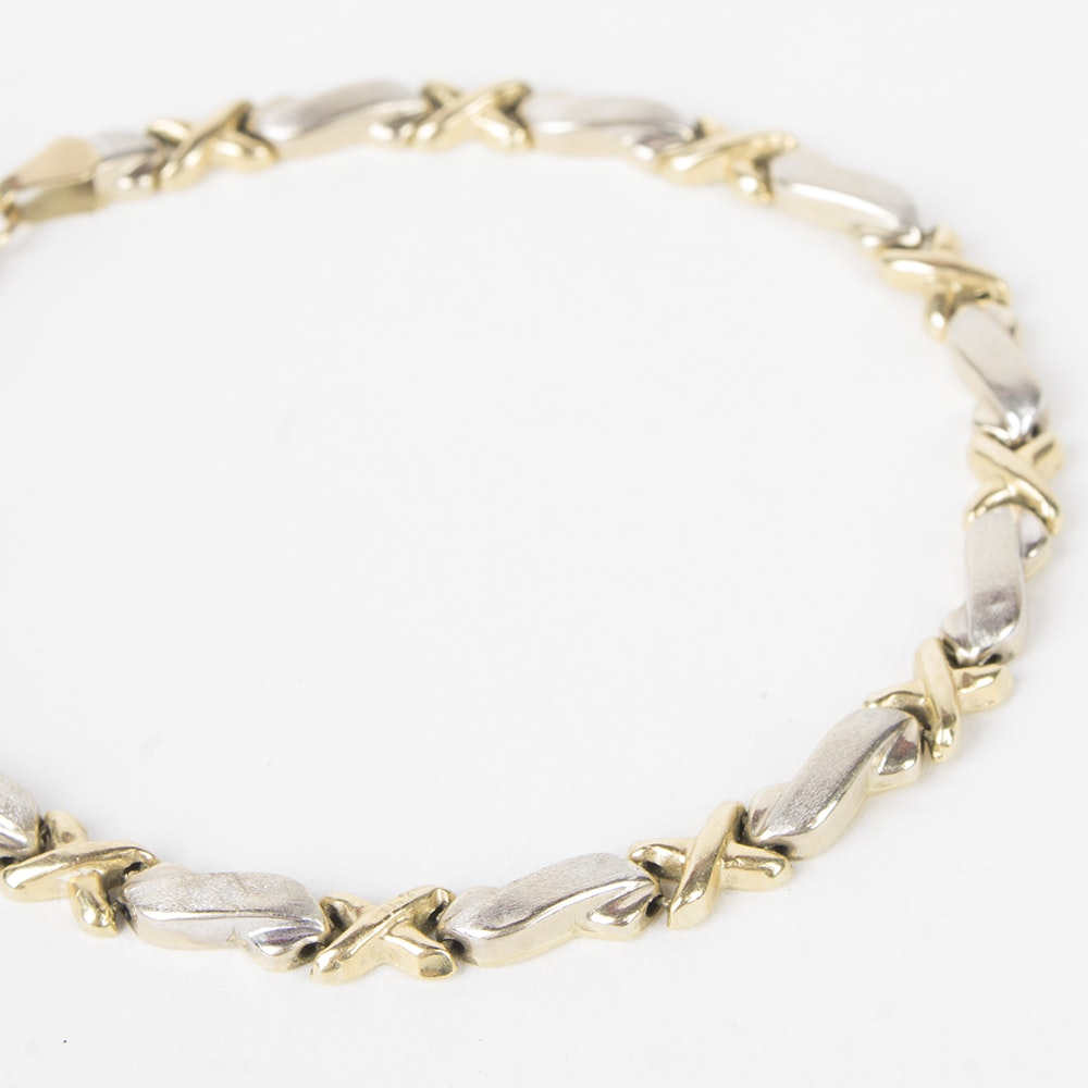 """14K Yellow and White Gold """"X"""" Link Bracelet"""