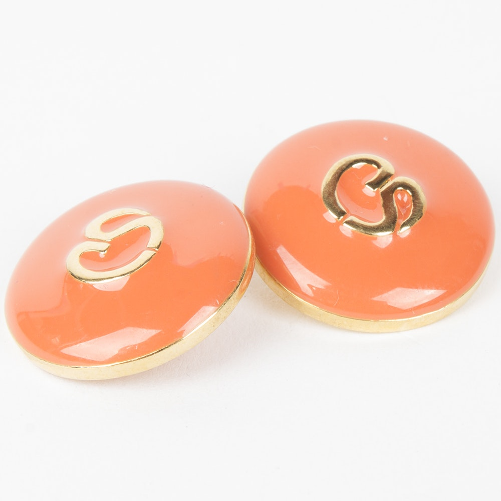 St. John Coral Enamel and Gold Tone Metal Replacement Logo Buttons