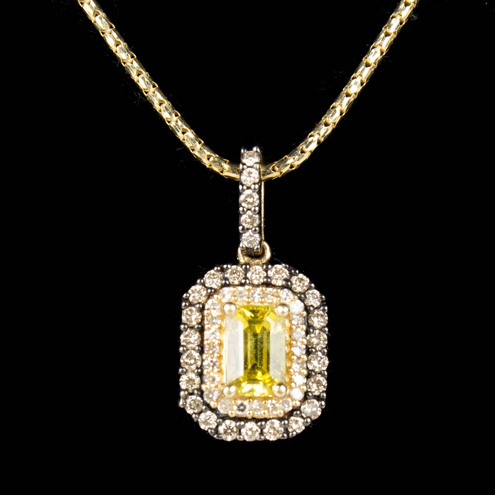 Effy 14K Yellow Gold Sapphire and Diamond Pendant Necklace
