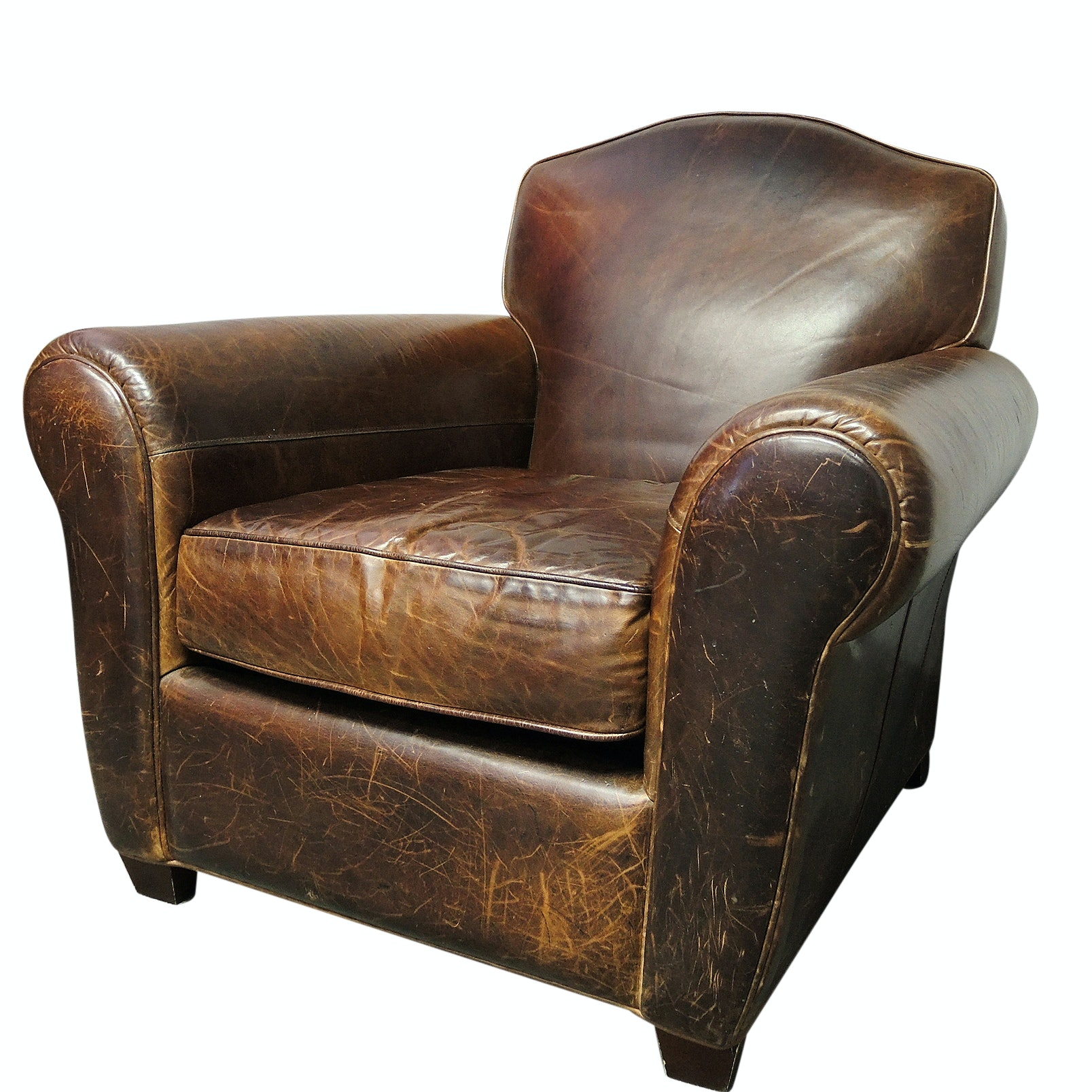 Craftwork Distressed Brown Leather Armchair