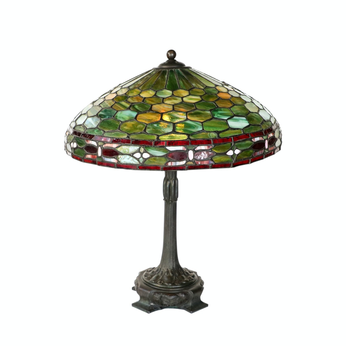 """Art Nouveau Duffner and Kimberly """"Waterlily"""" Lamp with Stained Glass Shade"""