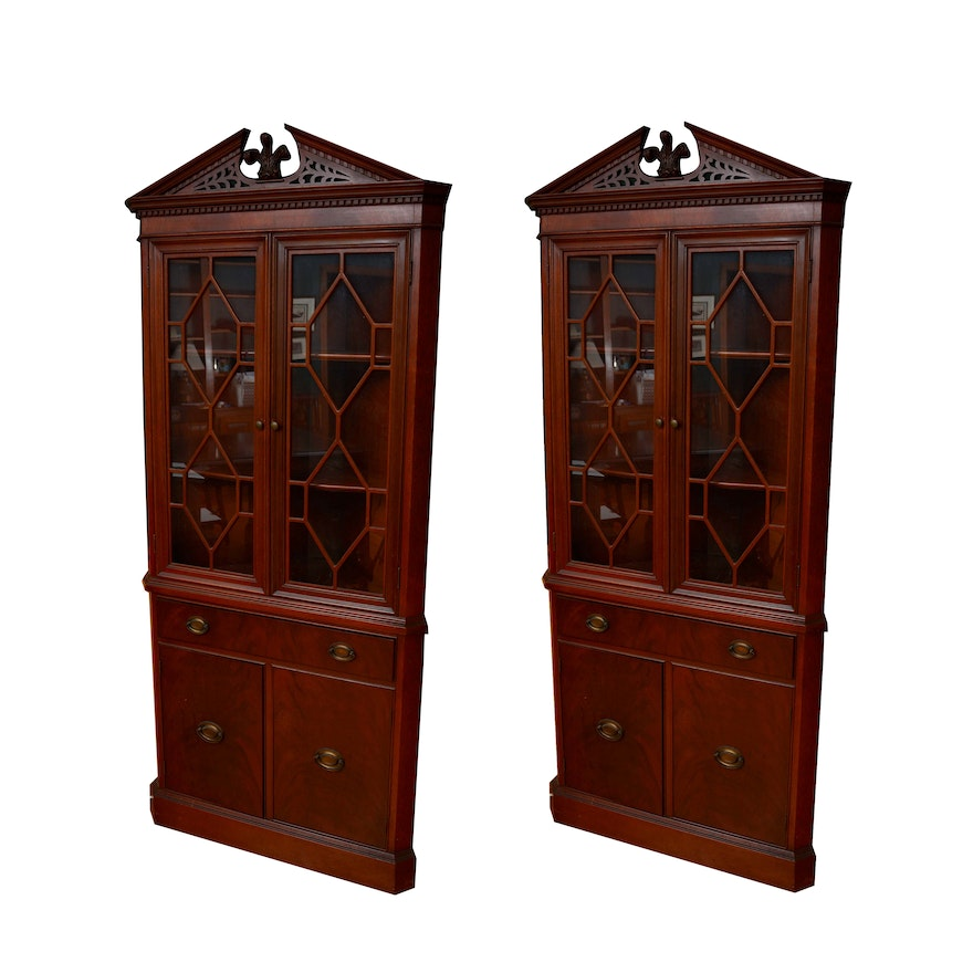 Vintage Federal Style Mahogany Corner China Cabinets By Finch Fine Furniture