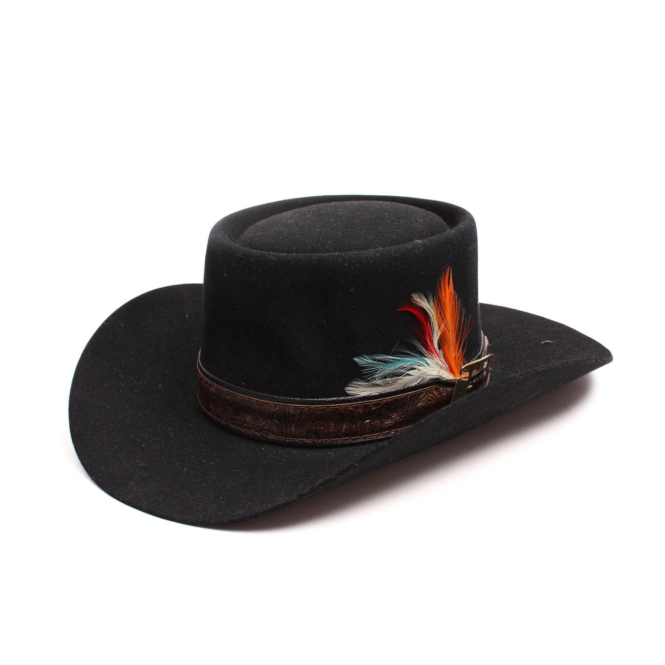Men's Vintage Stetson 3X Beaver Fur Felted Hat with Tooled and Feather Hat Band