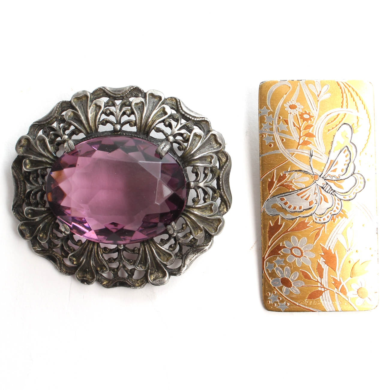"""Sterling Silver Brooches Featuring Convertible Reed & Barton """"Damascene"""""""