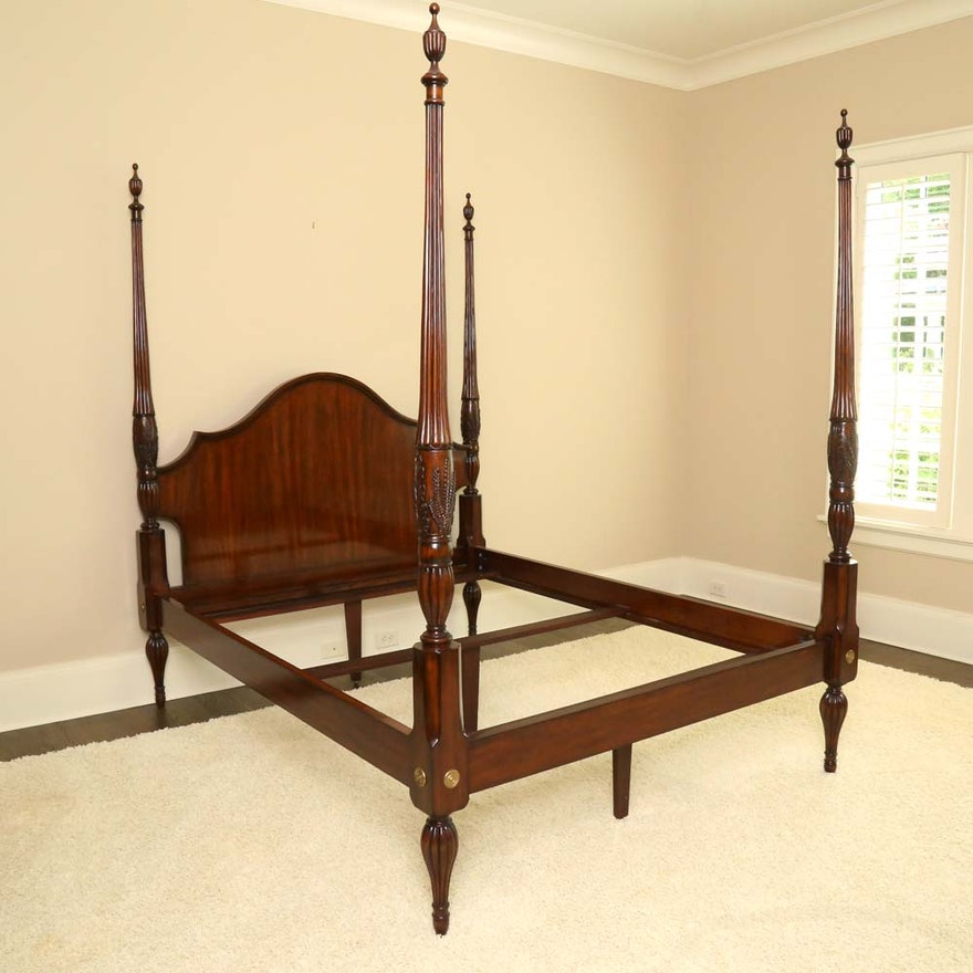 Four Poster Queen Size Charleston Rice Style Bed Frame Ebth