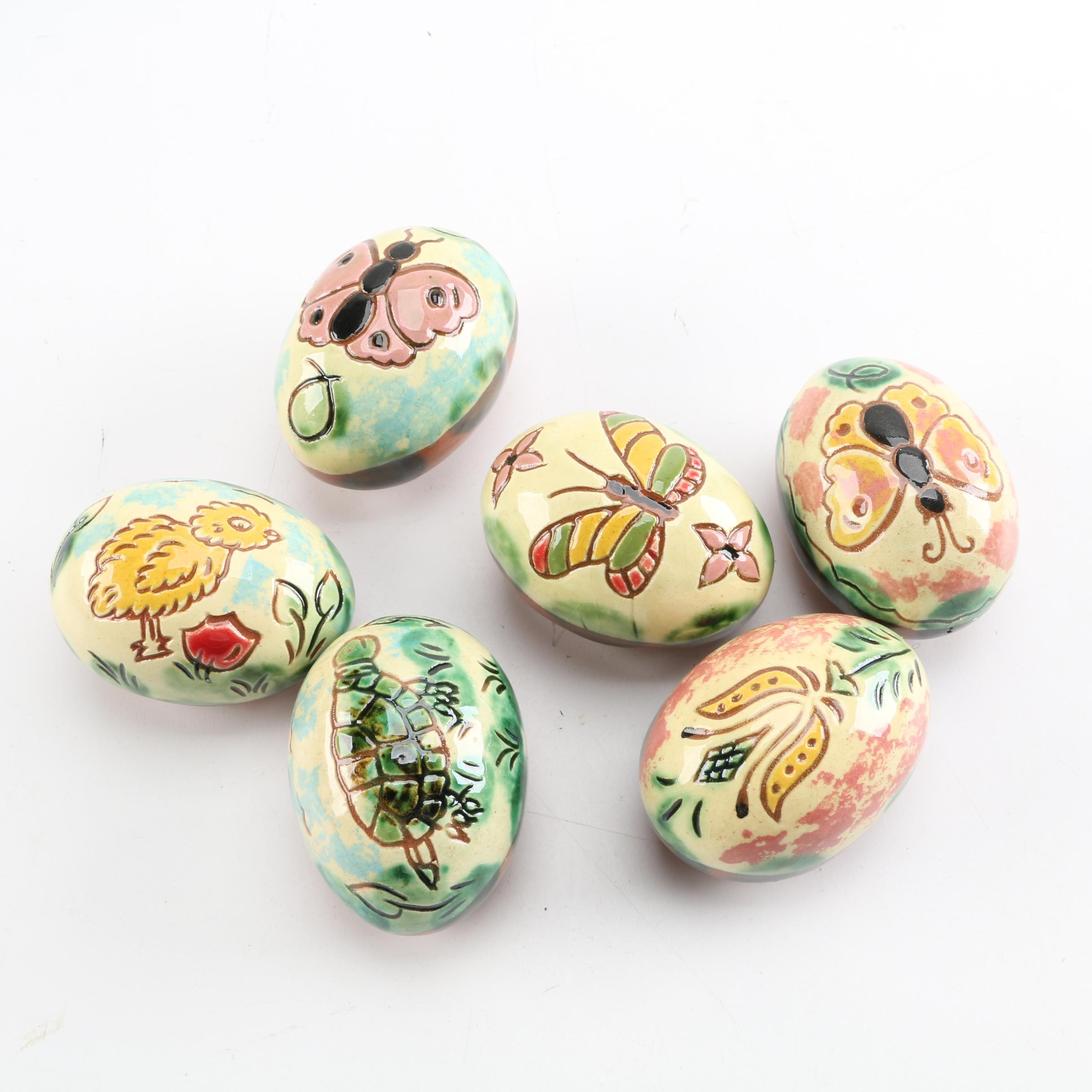 Hand-Painted Lester Breininger Sgraffito Redware Eggs