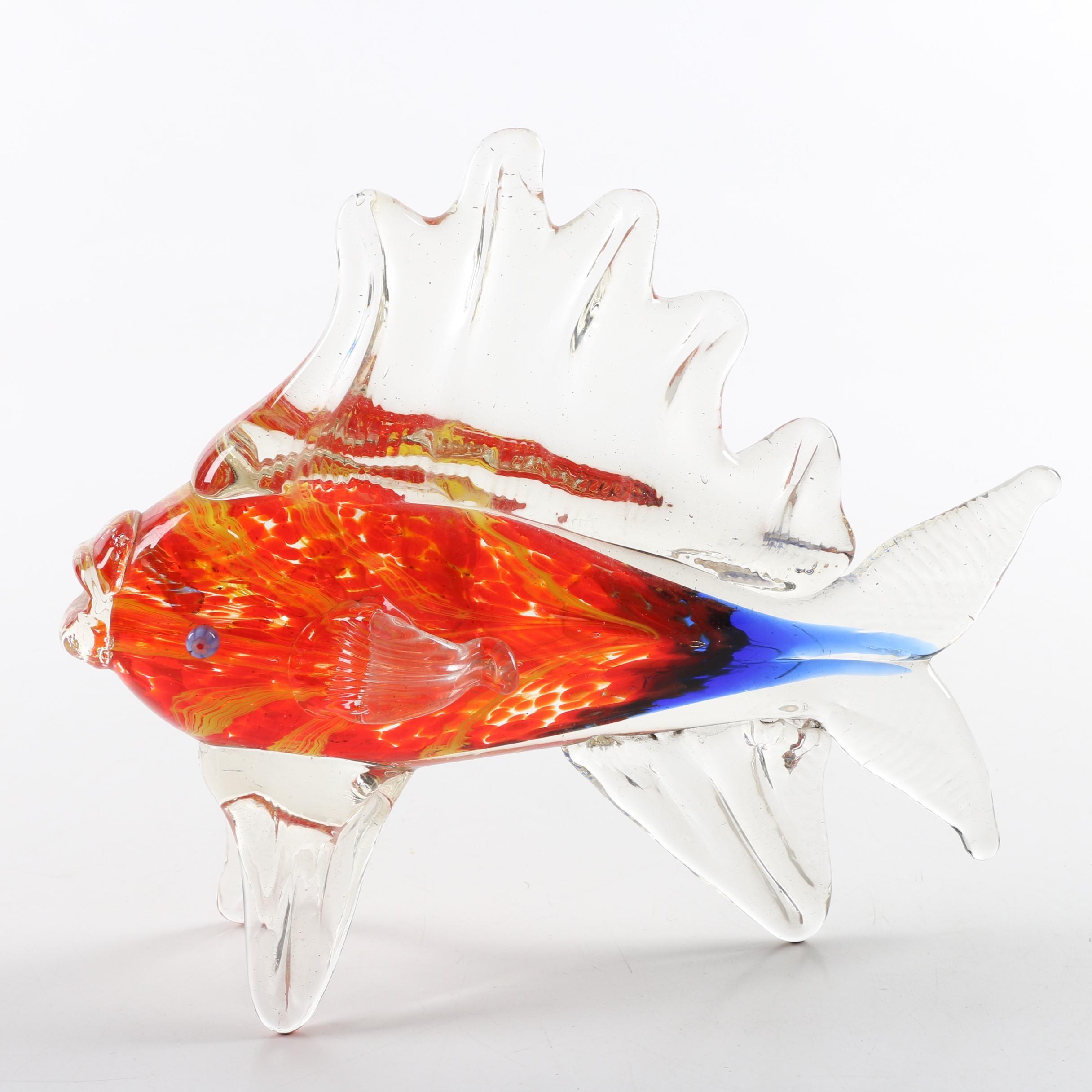 Murano Style Art Glass Fish with Millefiori Eyes