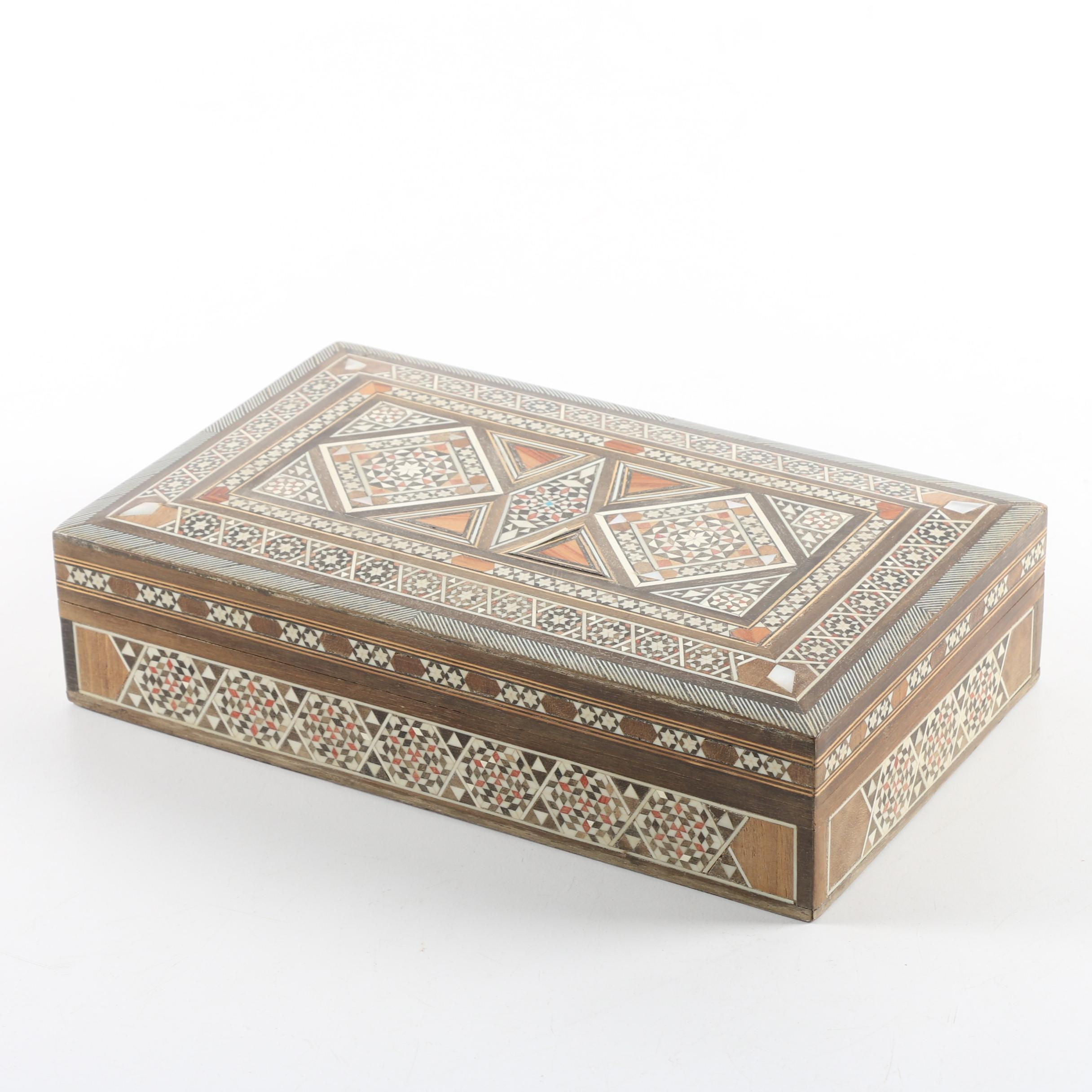 Marquetry Trinket Box with Inlaid Mother of Pearl and Antler
