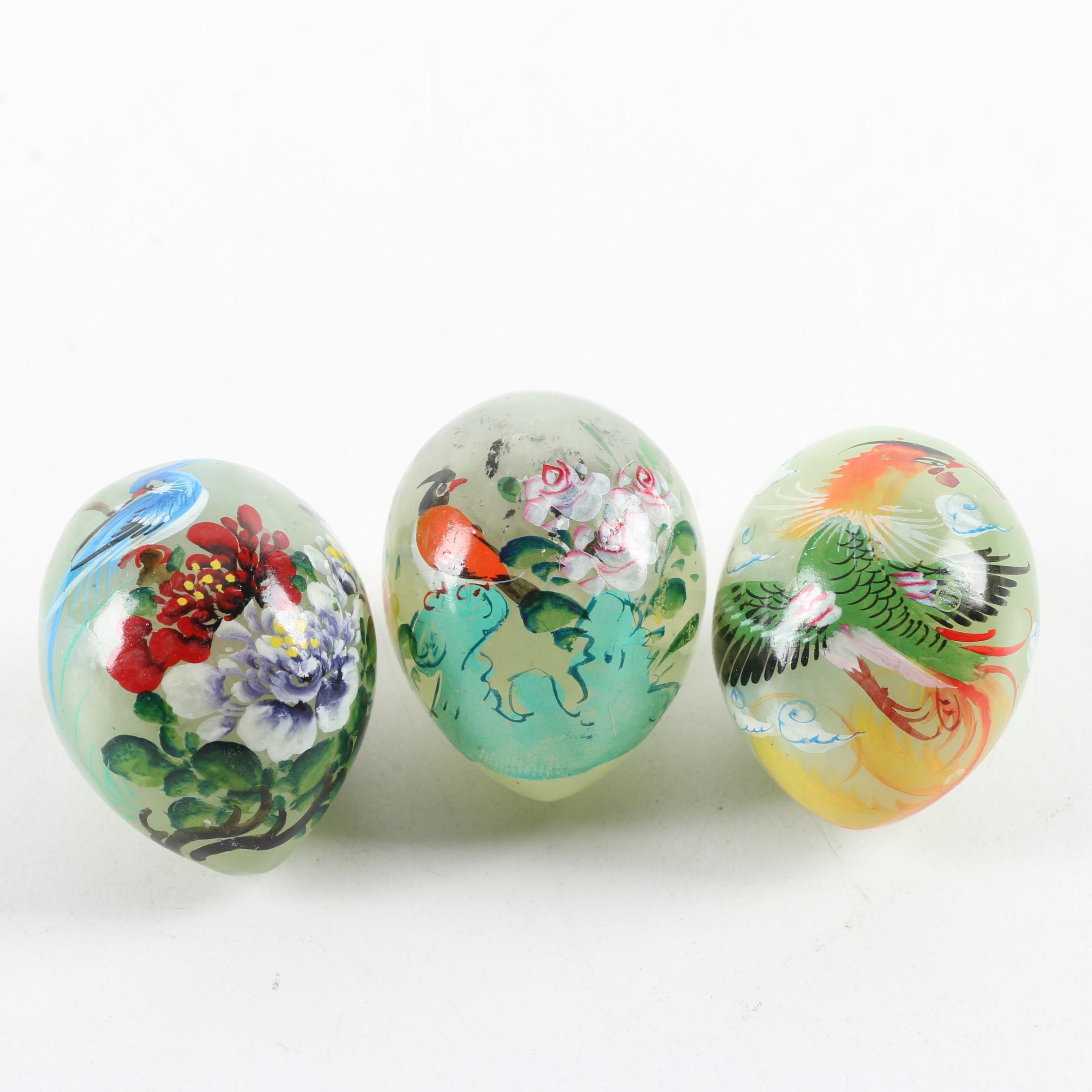 Chinese Hand Painted Serpentine Eggs