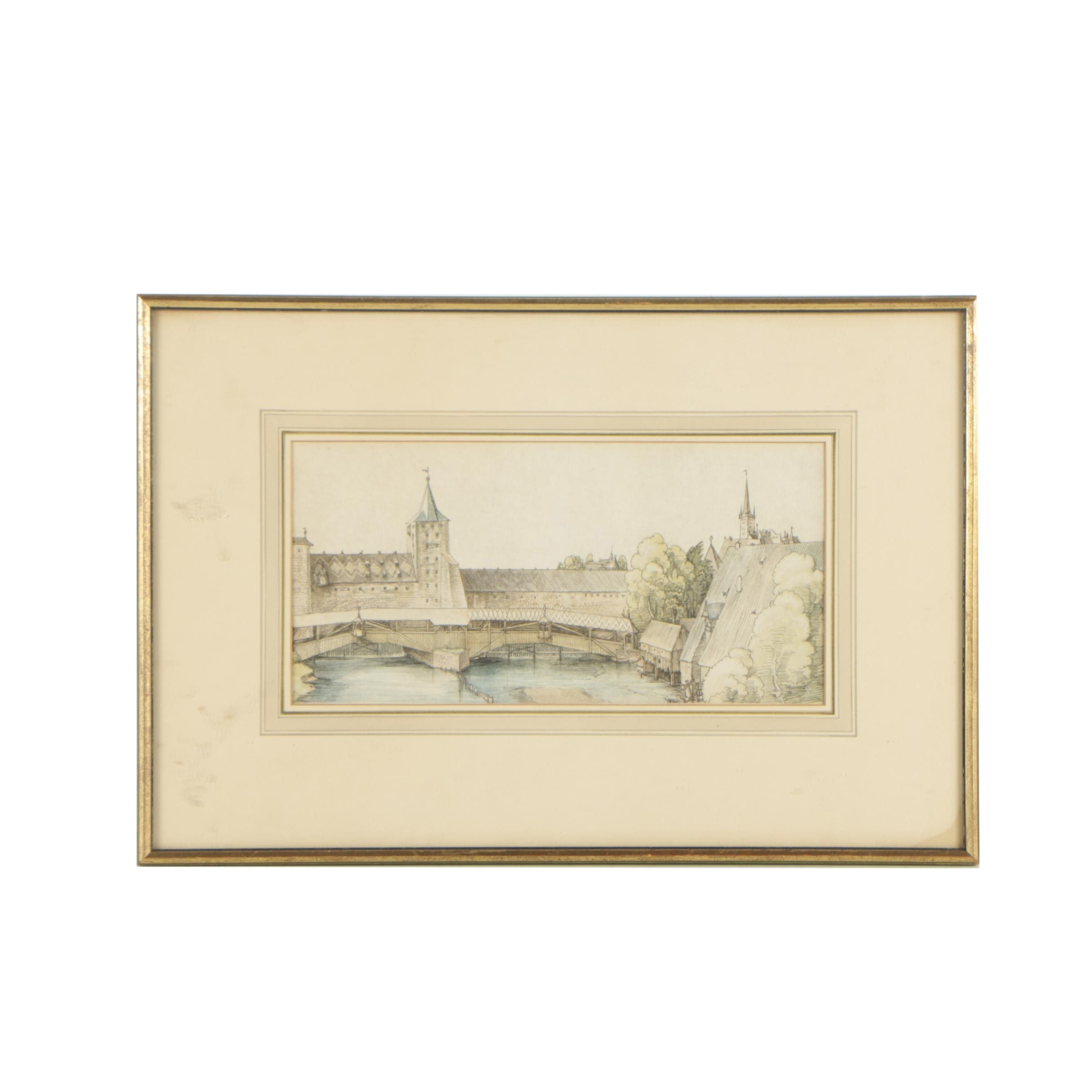 "Hand-Colored Etching After Albrecht Dürer ""A Covered Bridge at Nuremburg"""