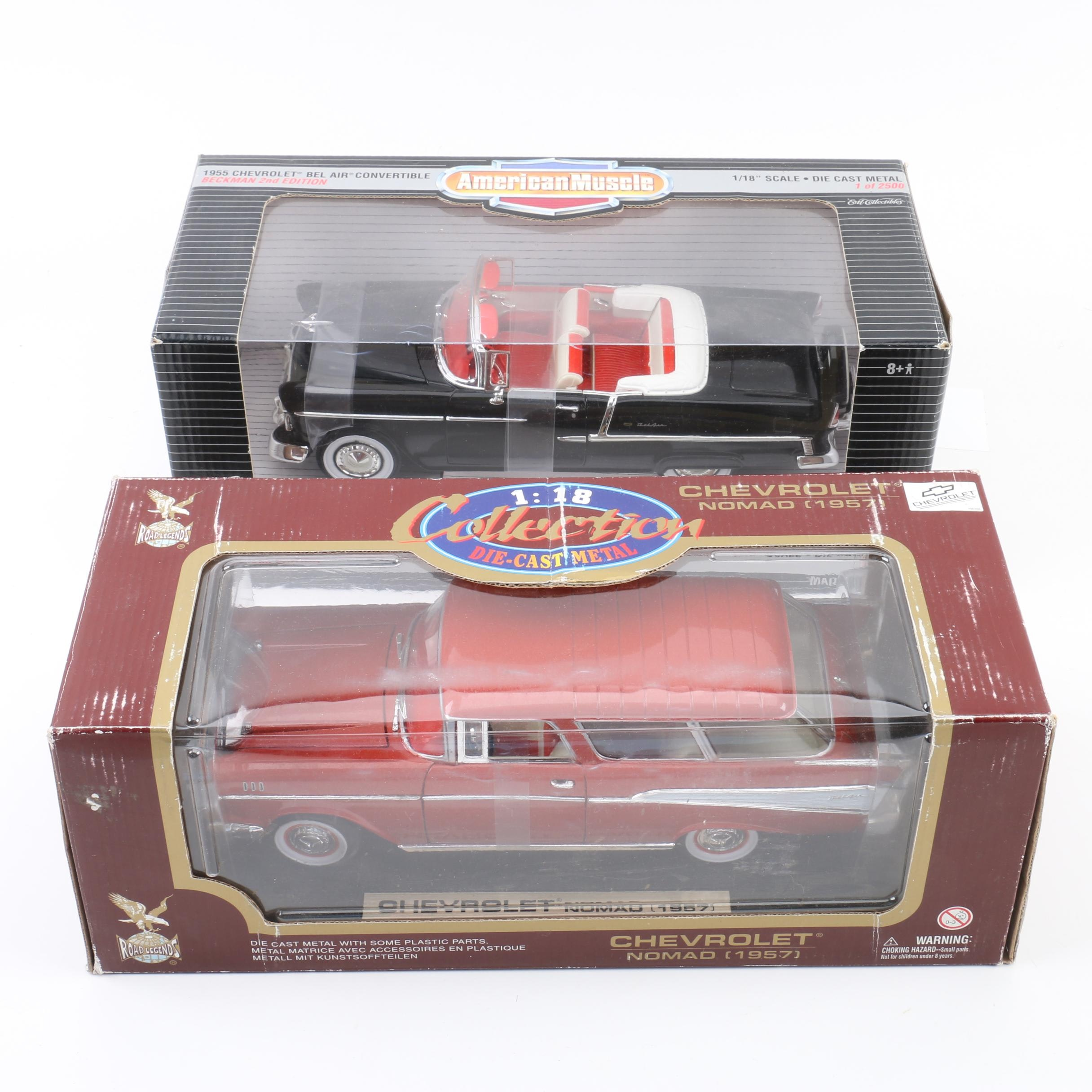 Die Cast 1955 Chevy Bel Air and 1957 Chevy Nomad Model Cars
