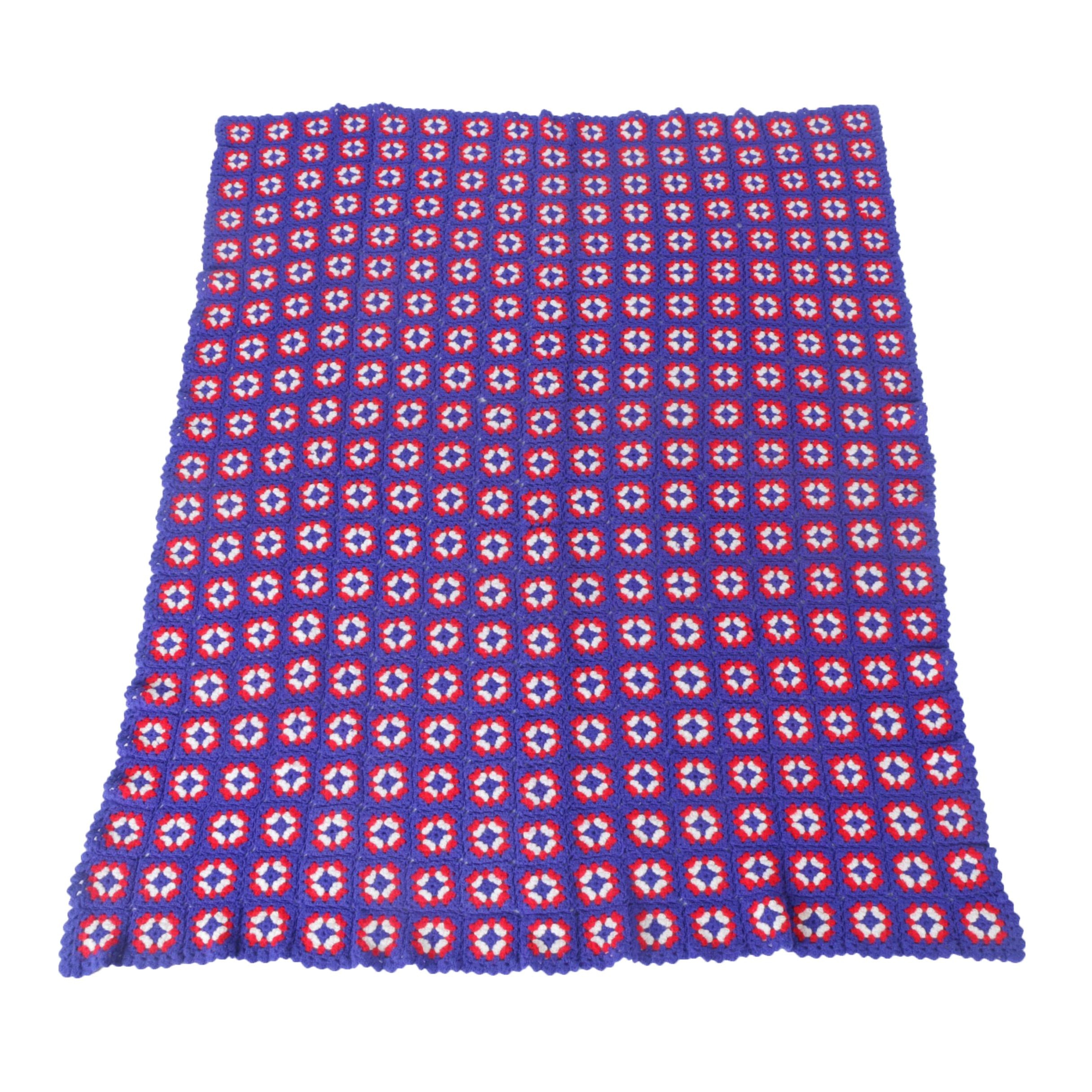 """Red, White, and Blue """"Granny Square"""" Crocheted Afghan"""