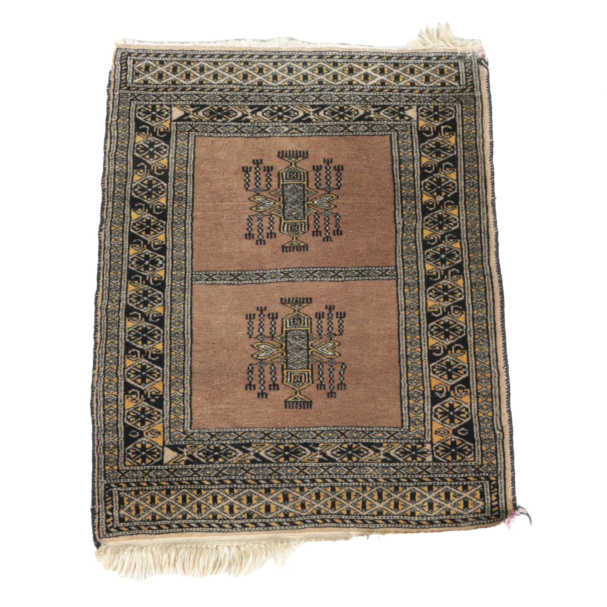 Vintage Hand-Knotted Turkmen Wool Accent Rug