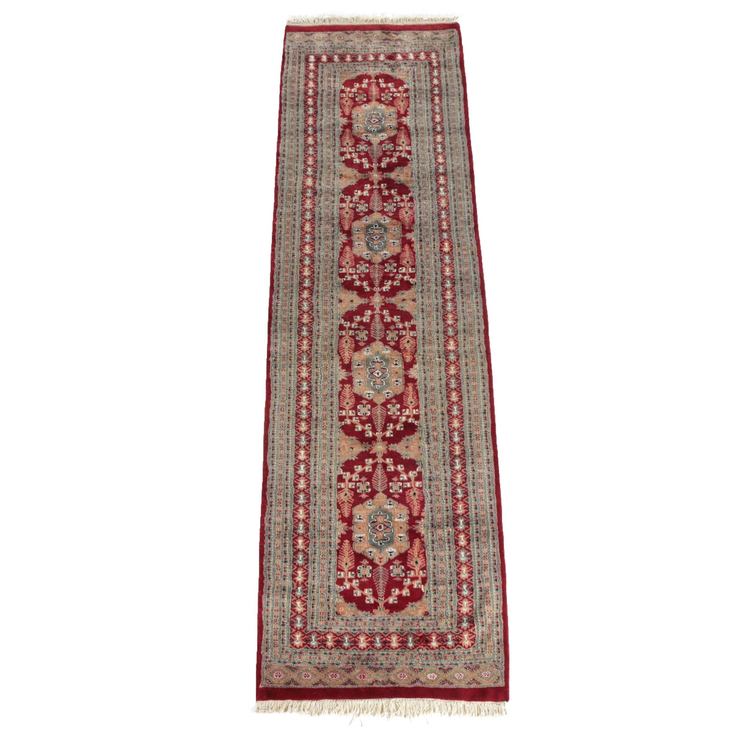 "Hand-Knotted Pakistani Wool & Silk ""Garden"" Long Rug"