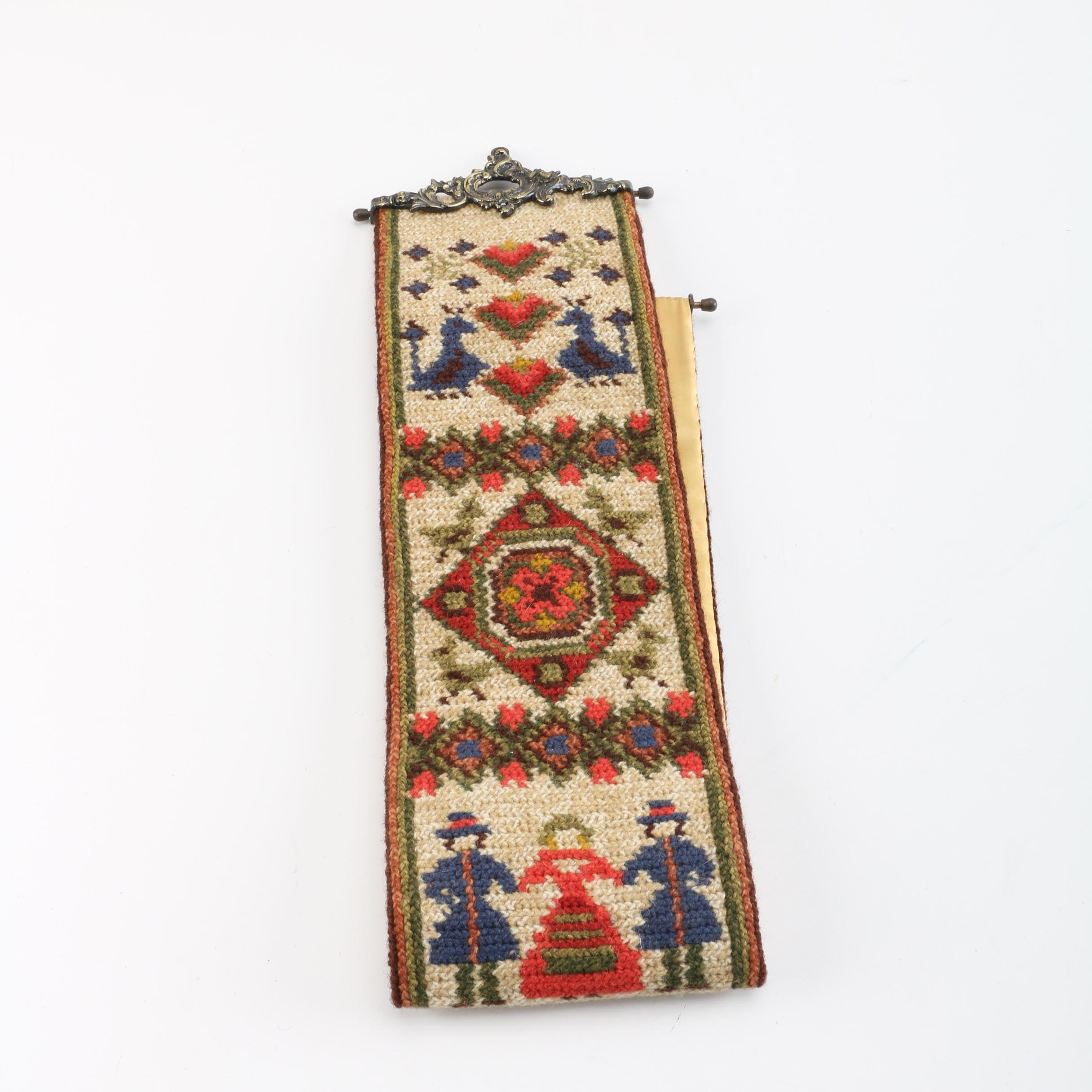 Pennsylvania Dutch Style Wool Crochet Tapestry