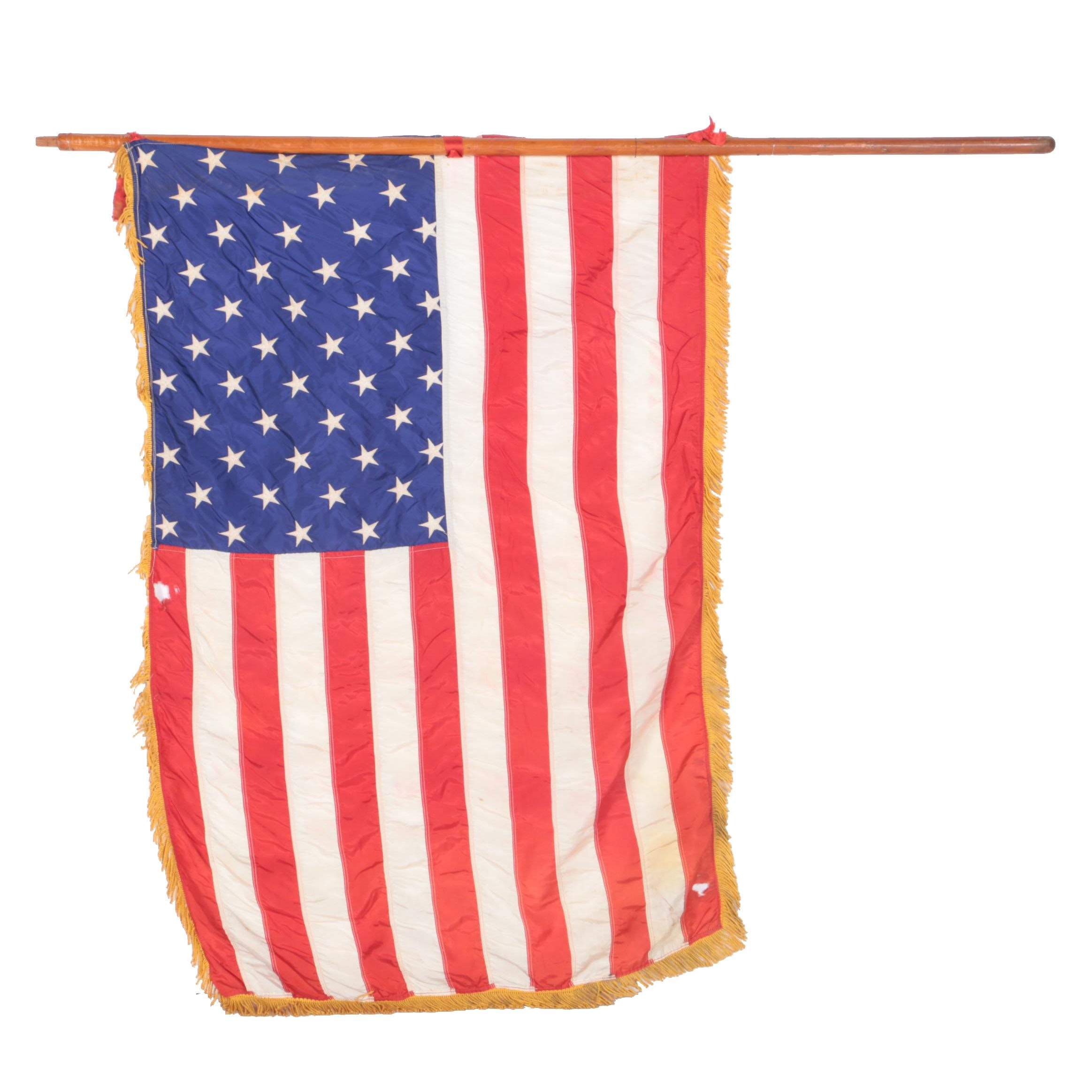 American Flag with Fringe and Flagpole