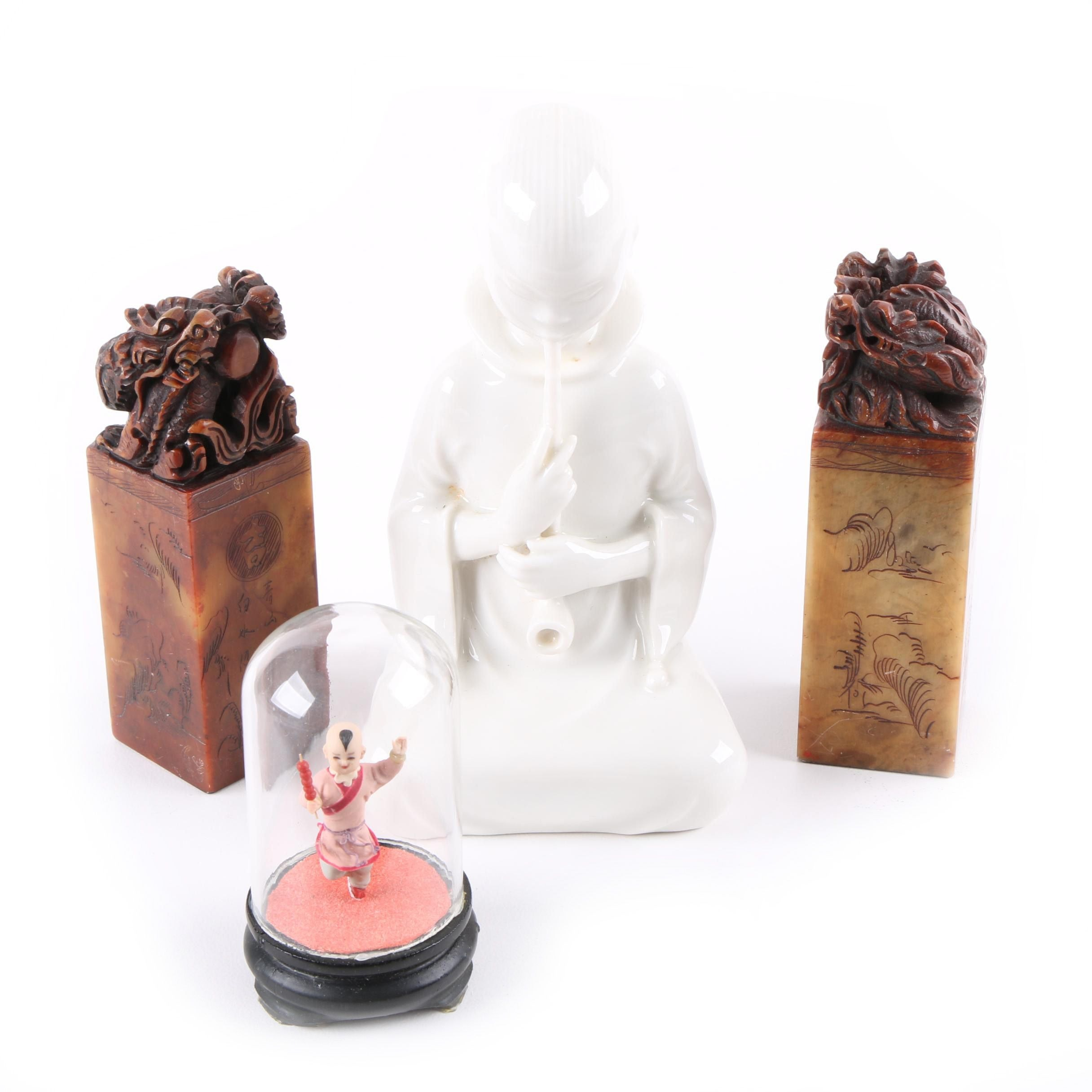 Porcelain Figurines with Soapstone Chops