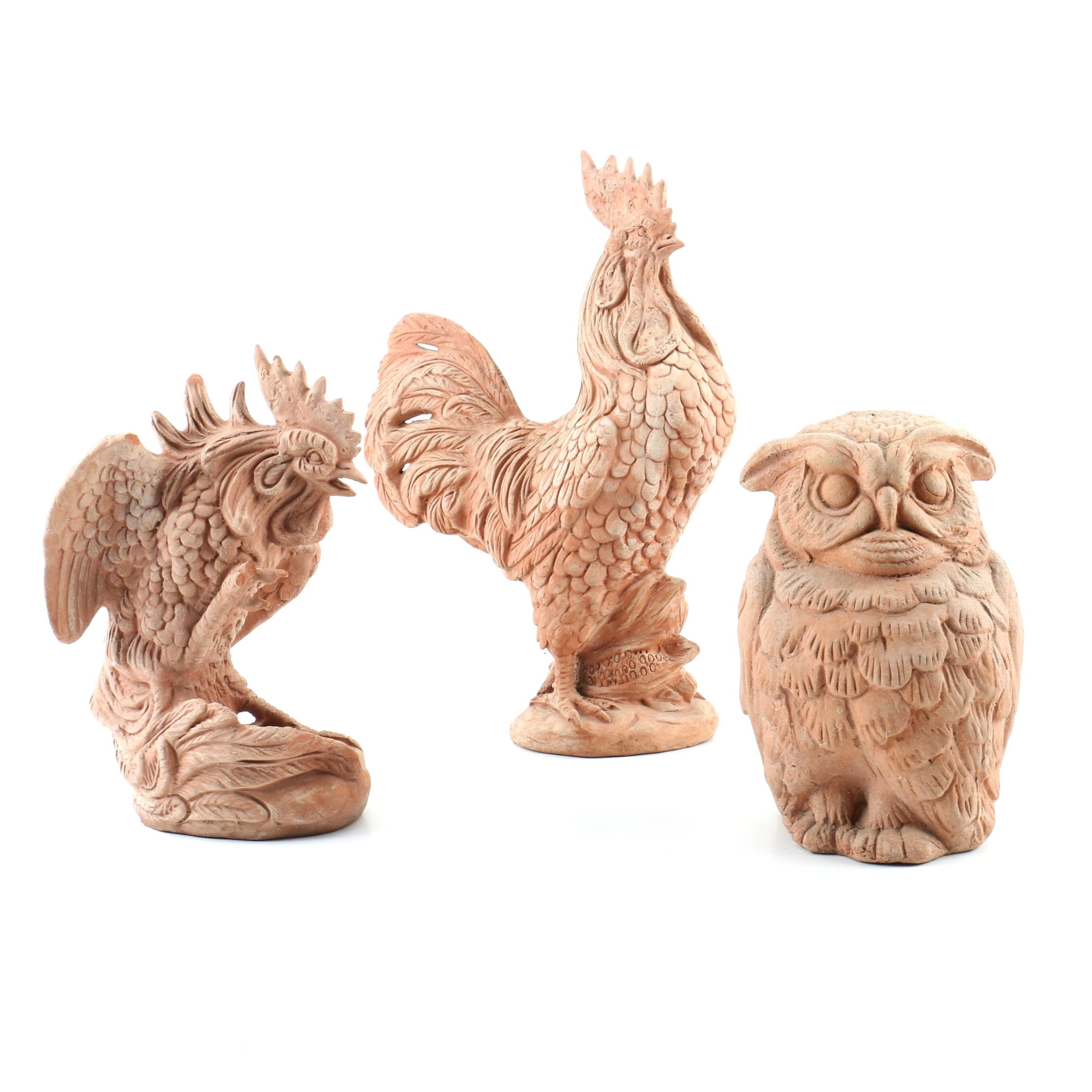 Italian Terracotta Roosters and Owl