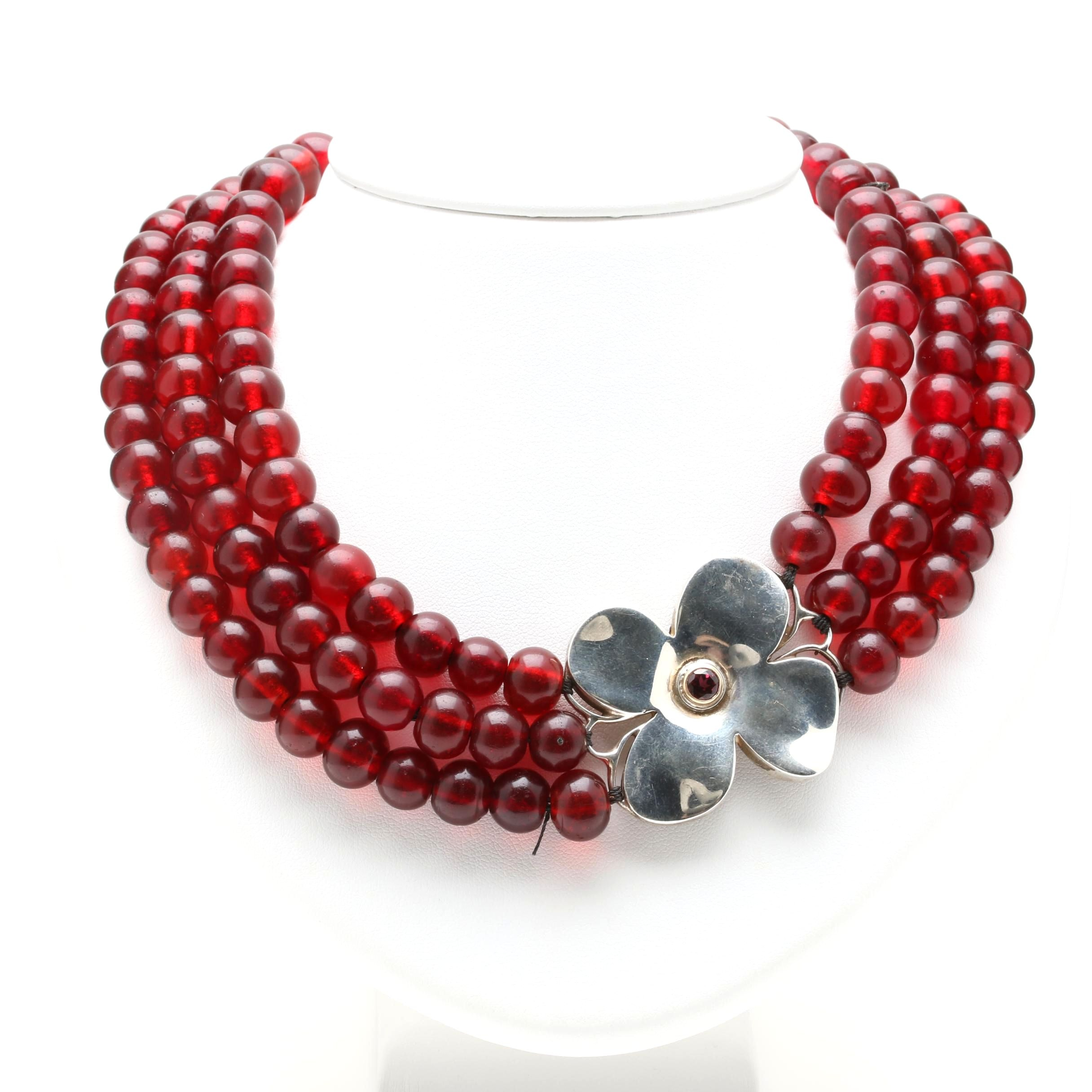Sterling Silver Garnet and Glass Bead Choker Necklace