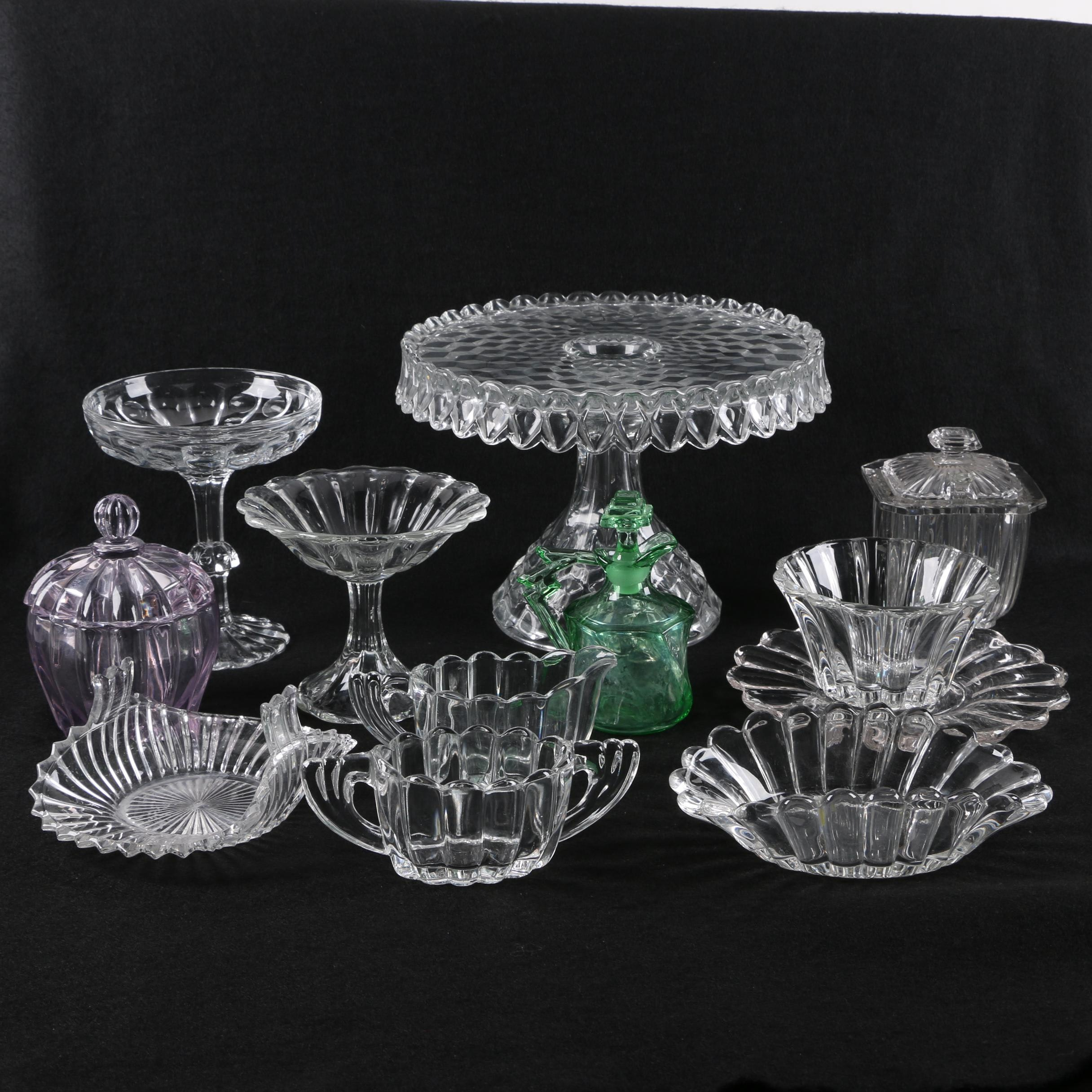 "Assortment of Depression Glass Serveware Including Heisey ""Crystolite"""