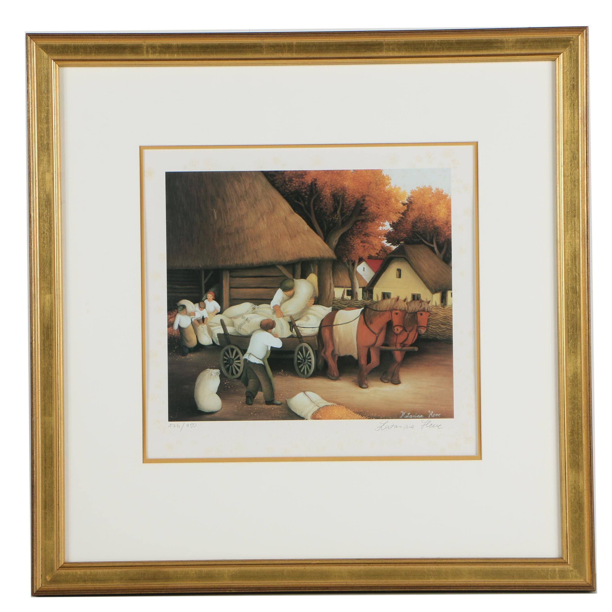 Katarina Henc Limited Edition Offset Lithograph of Village Scene