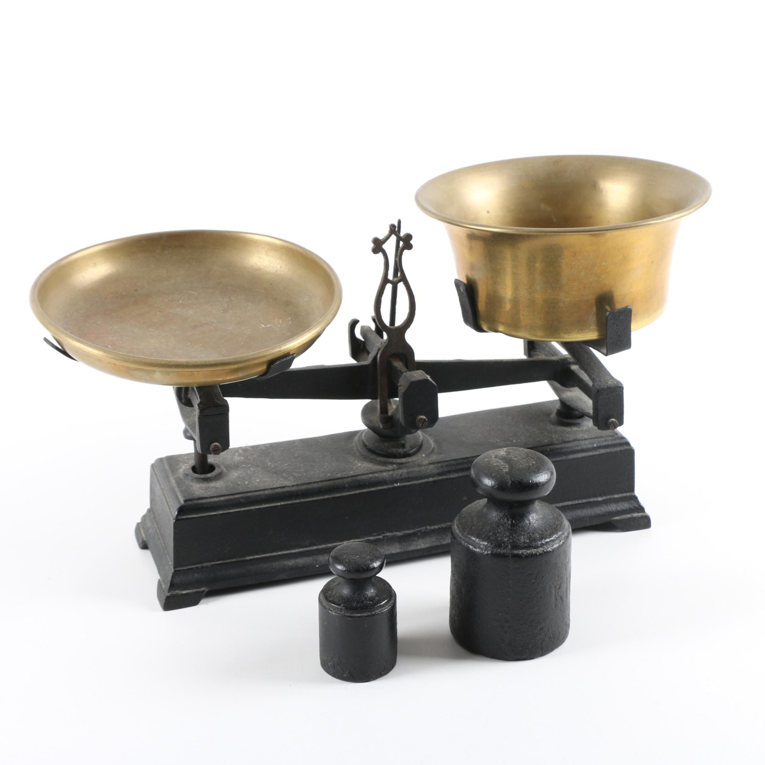 Antique Brass and Cast Iron Balance Scale With Weights