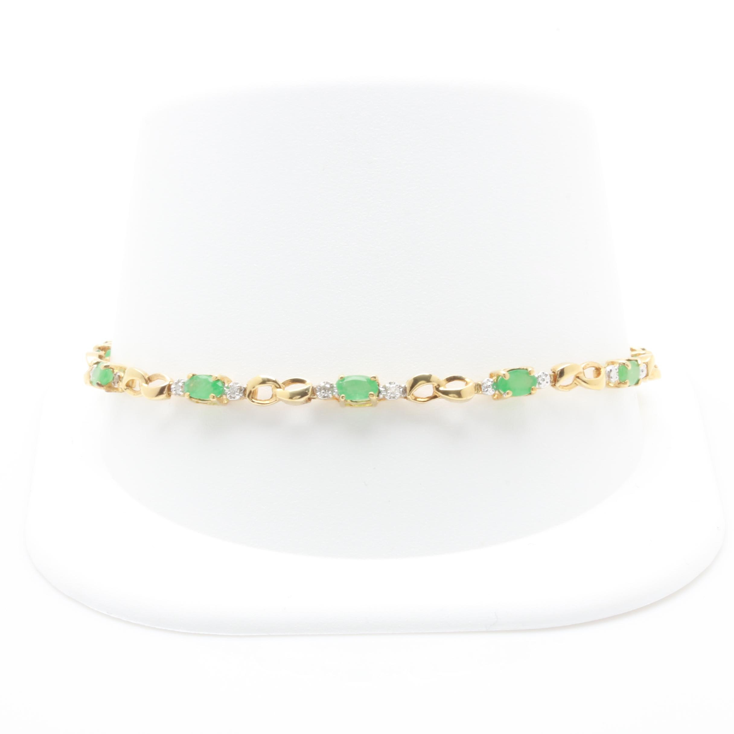 10K Yellow Gold Emerald and Diamond Link Bracelet