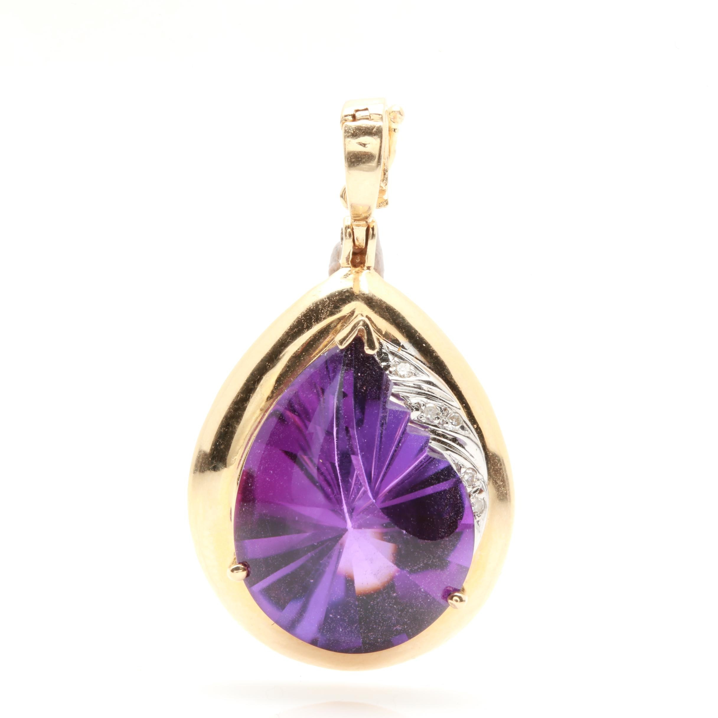 14K Yellow Gold Amethyst and Diamond Enhancer Pendant with White Gold Accents